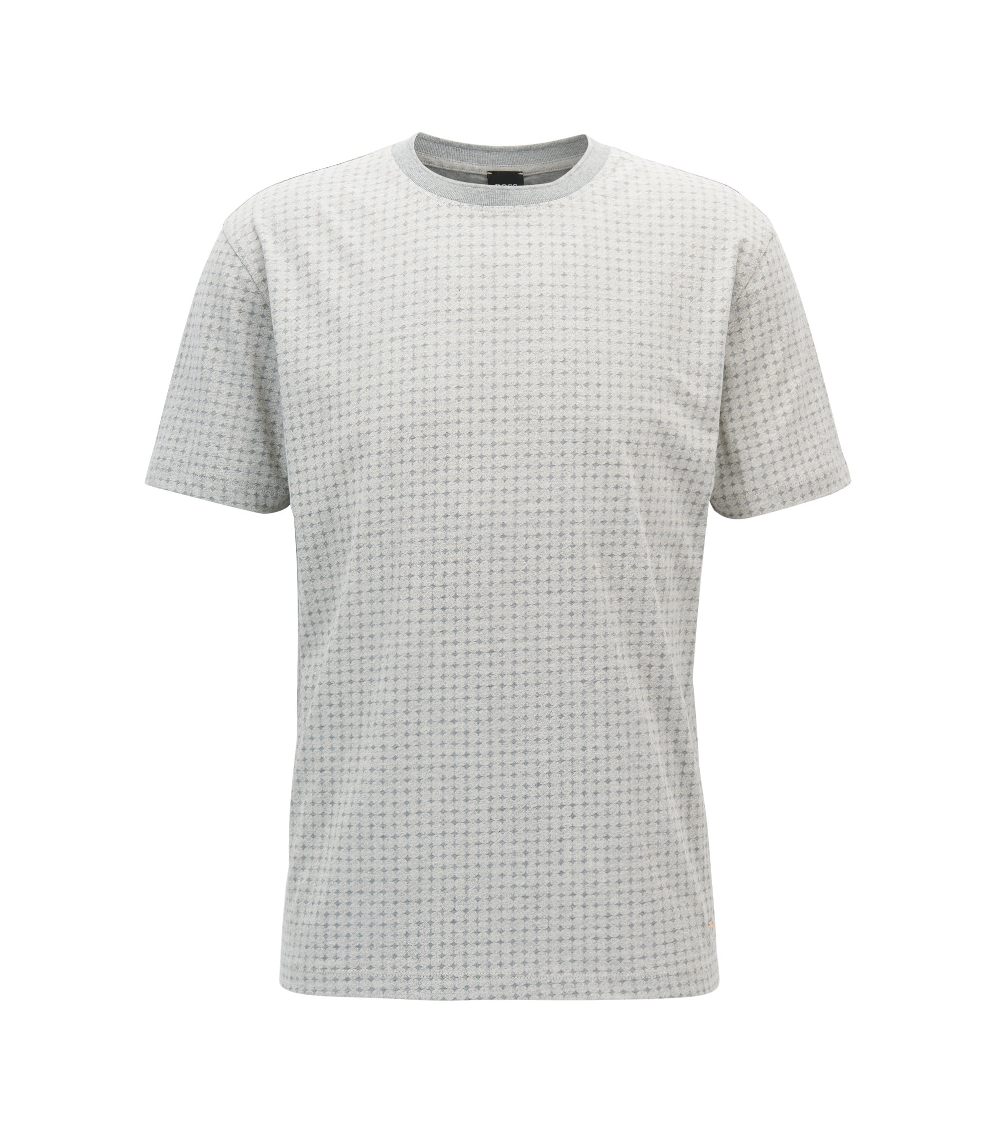 Relaxed fit T-shirt in patterned cotton jersey, Light Grey