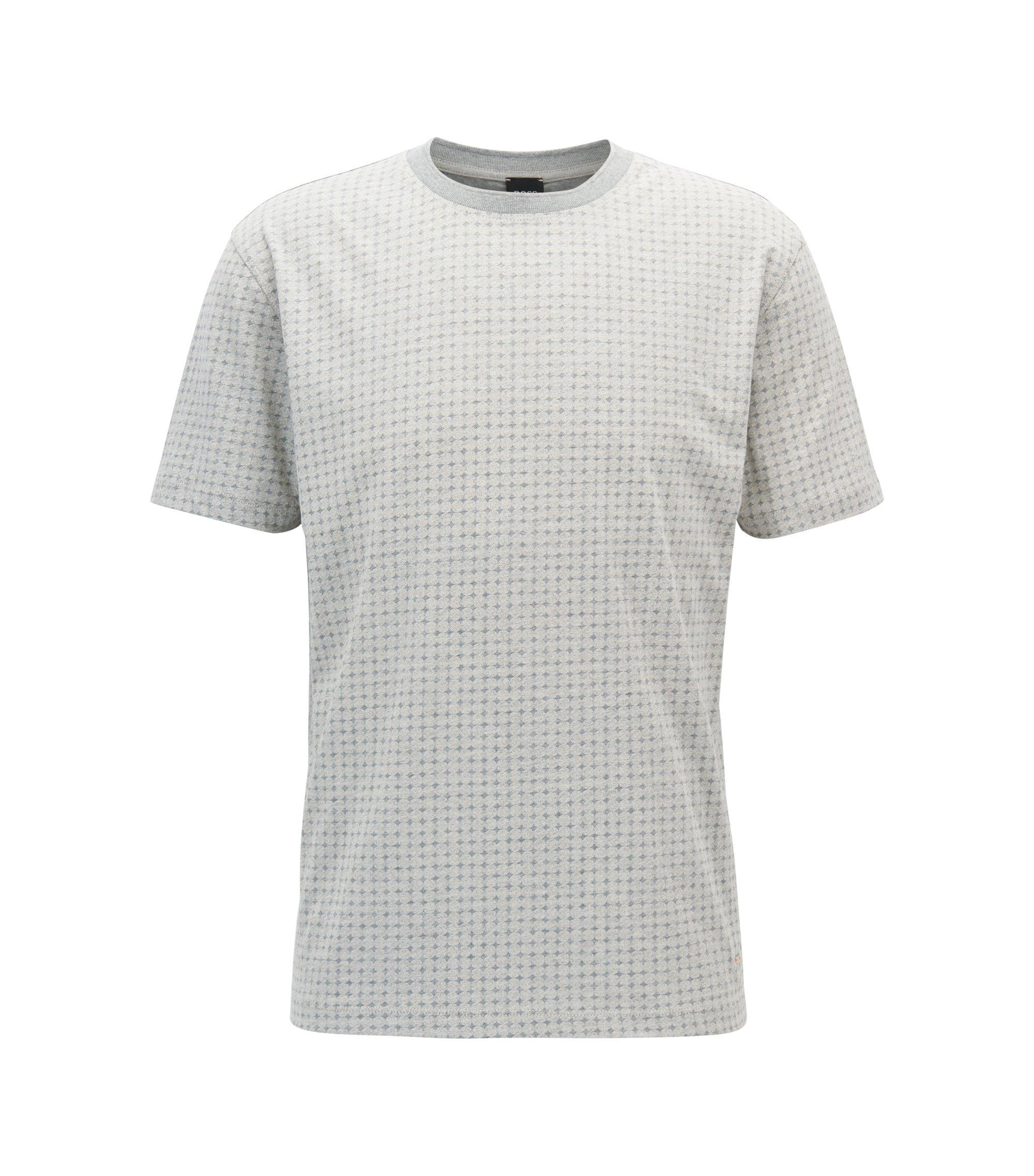 Relaxed-Fit T-Shirt aus gemustertem Baumwoll-Jersey, Hellgrau
