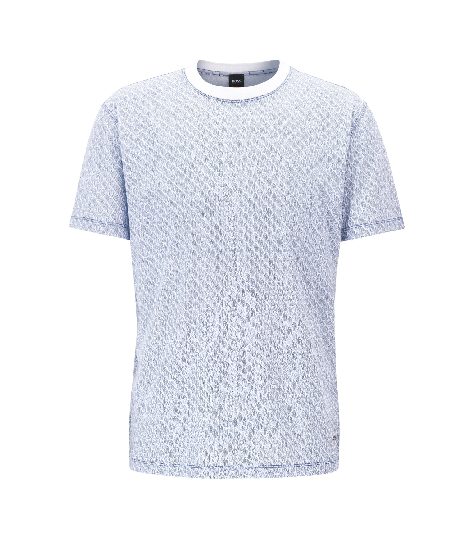 Relaxed fit T-shirt in patterned cotton jersey, Light Blue