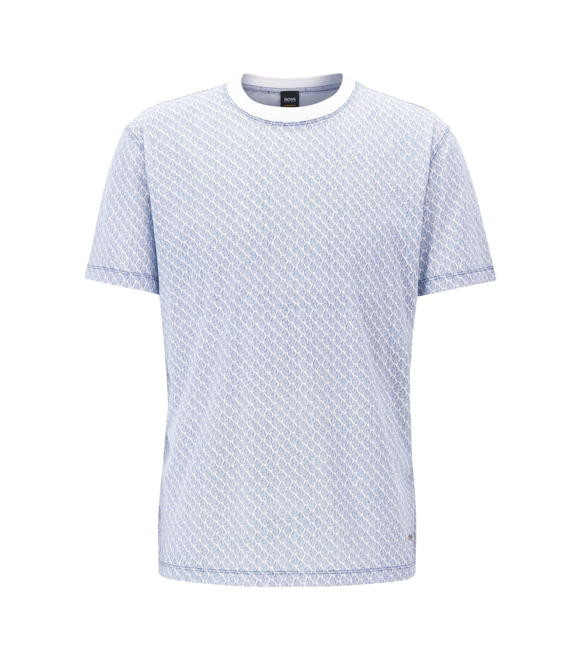 Relaxed-Fit T-Shirt aus gemustertem Baumwoll-Jersey, Hellblau