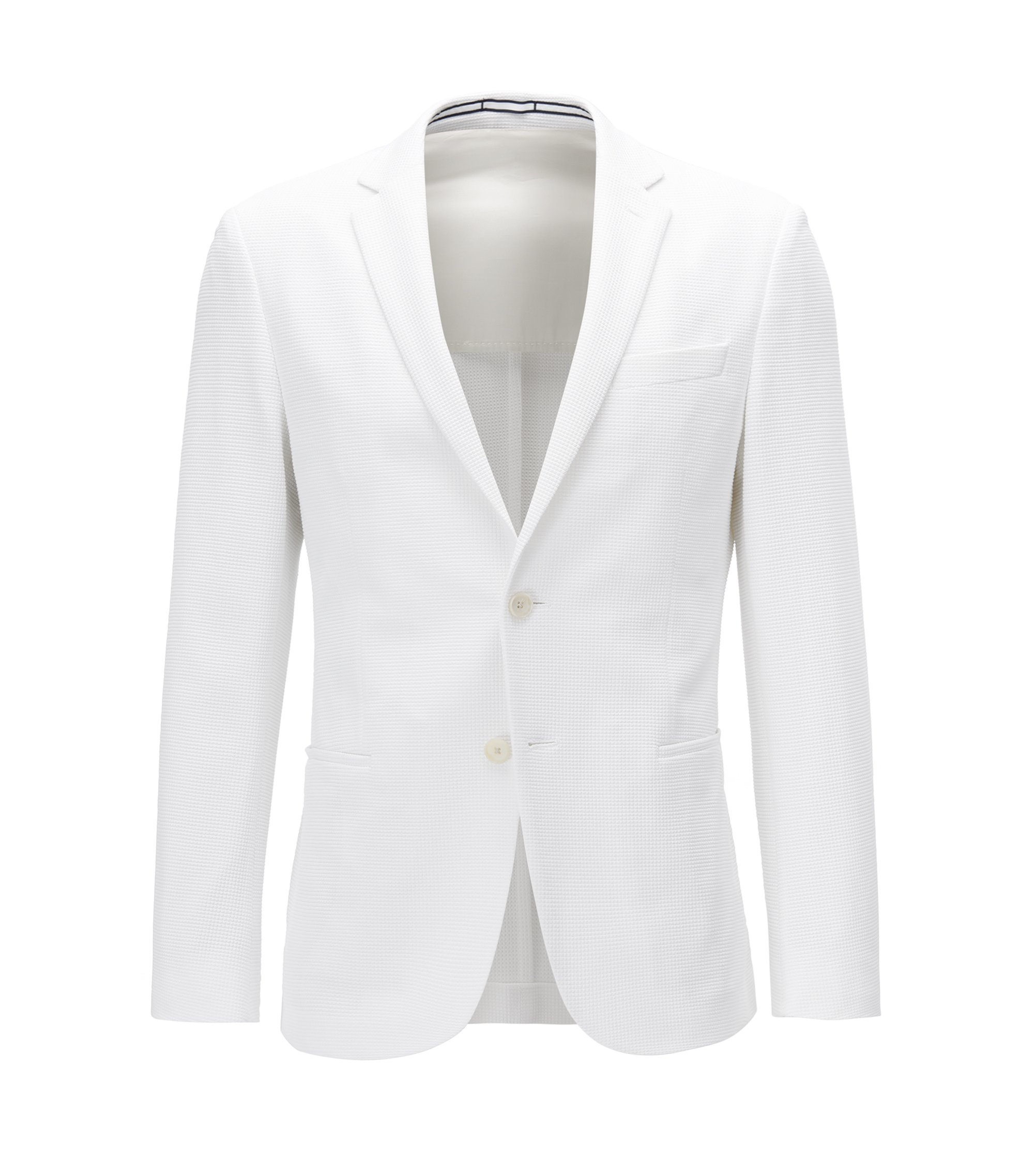 Slim-fit blazer in a waffle-structure cotton blend, White