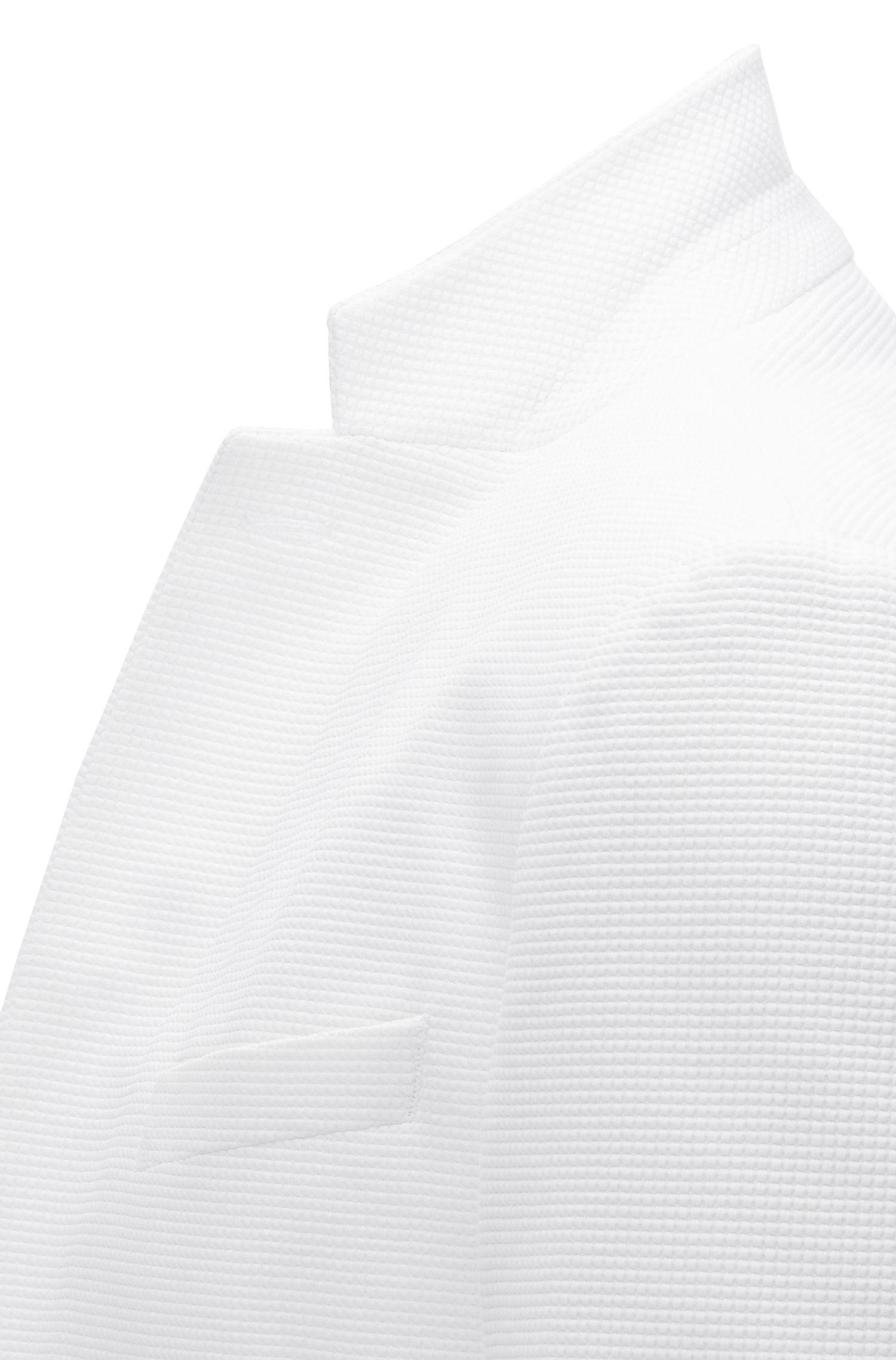 Blazer slim fit en mezcla de algodón con tejido de rejilla