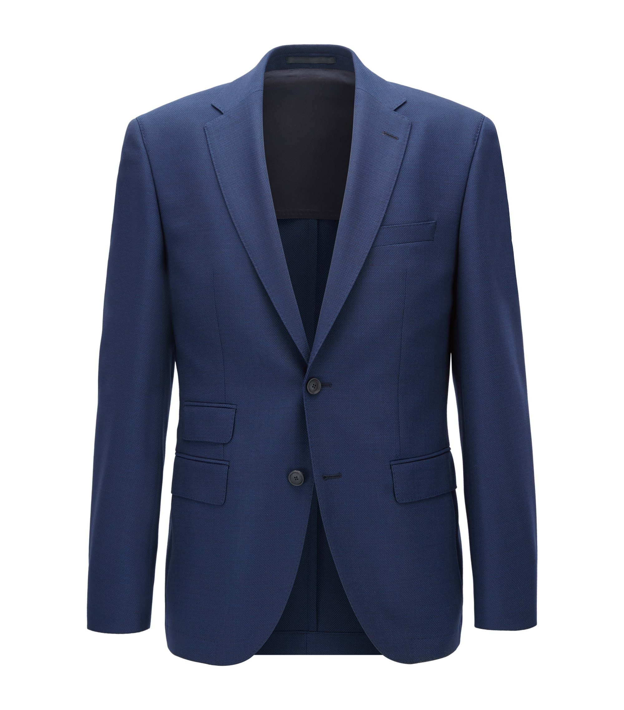 Giacca regular fit in lana vergine, Blu scuro