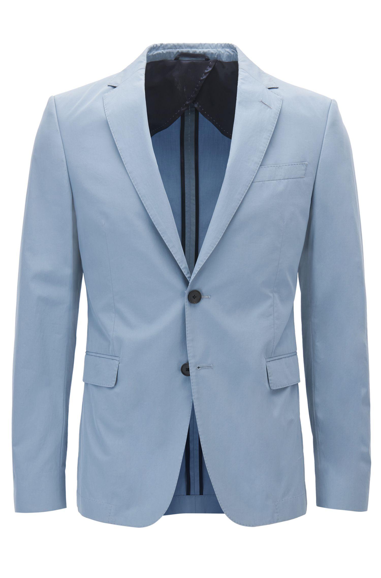 Slim-fit jacket in paper-touch cotton poplin