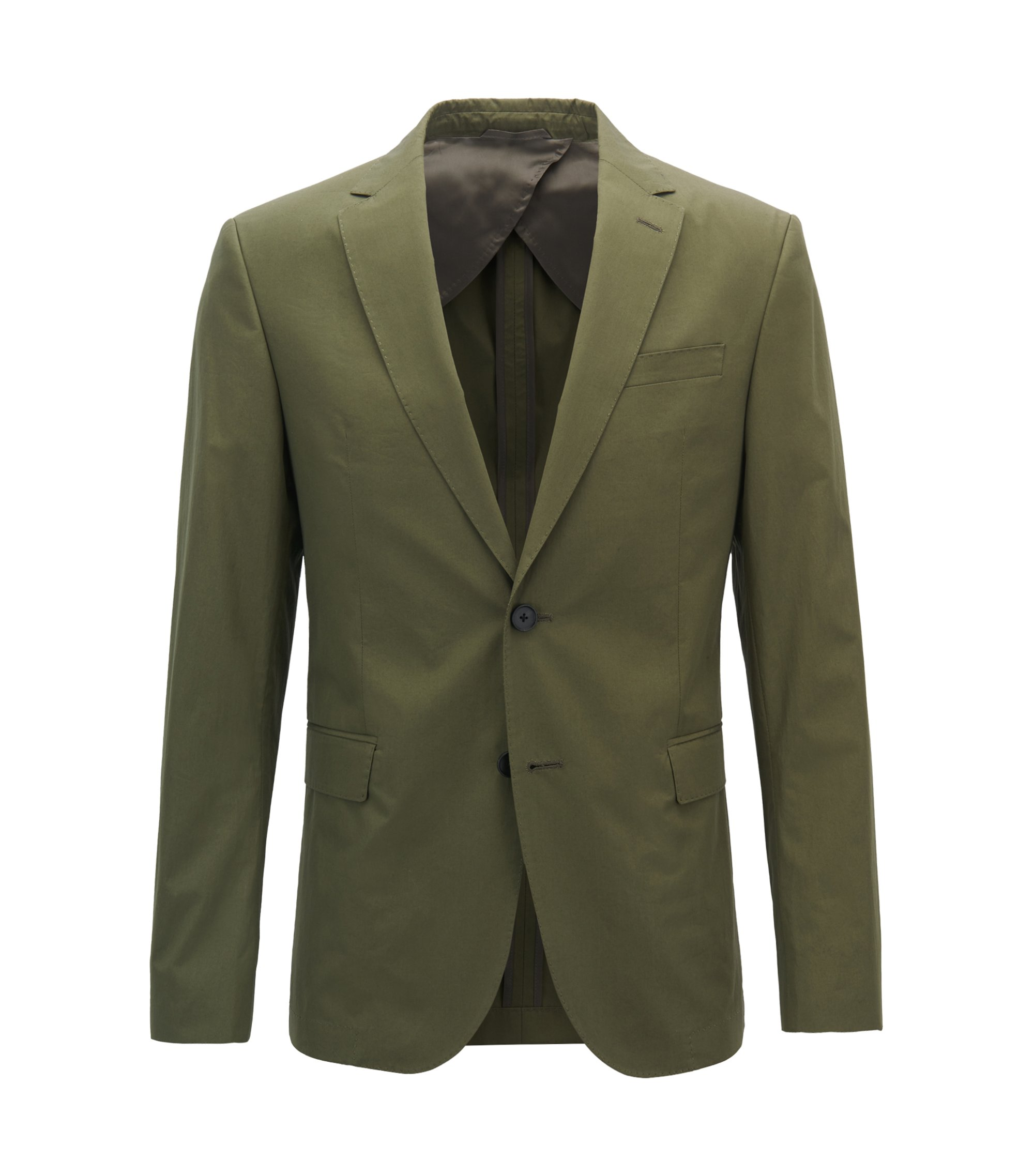 Giacca slim fit in popeline di cotone manocarta, Verde scuro