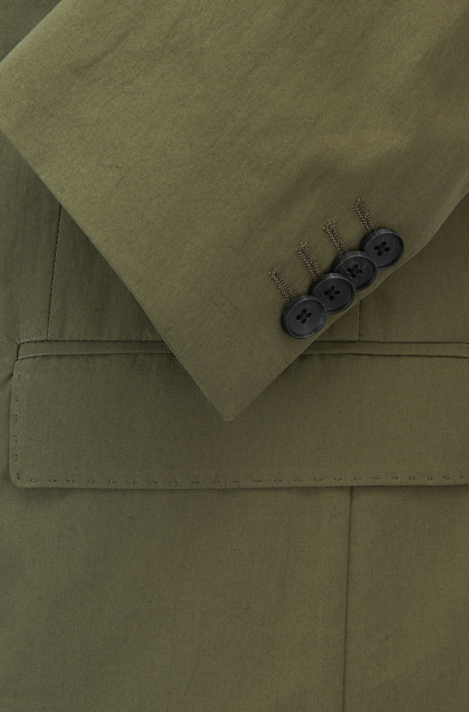 Slim-fit colbert in paper-touch popeline van katoen