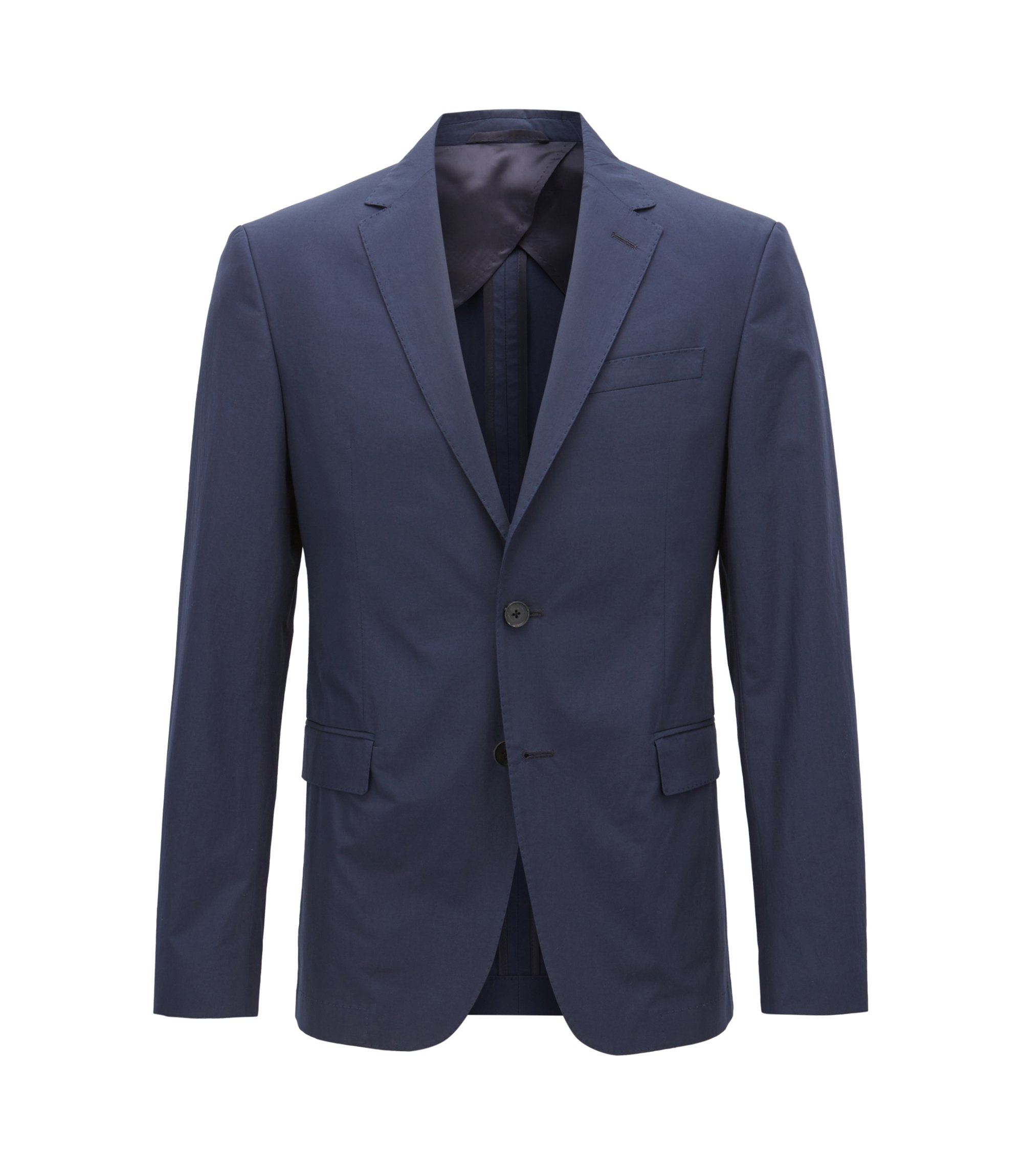 Giacca slim fit in popeline di cotone manocarta, Blu scuro