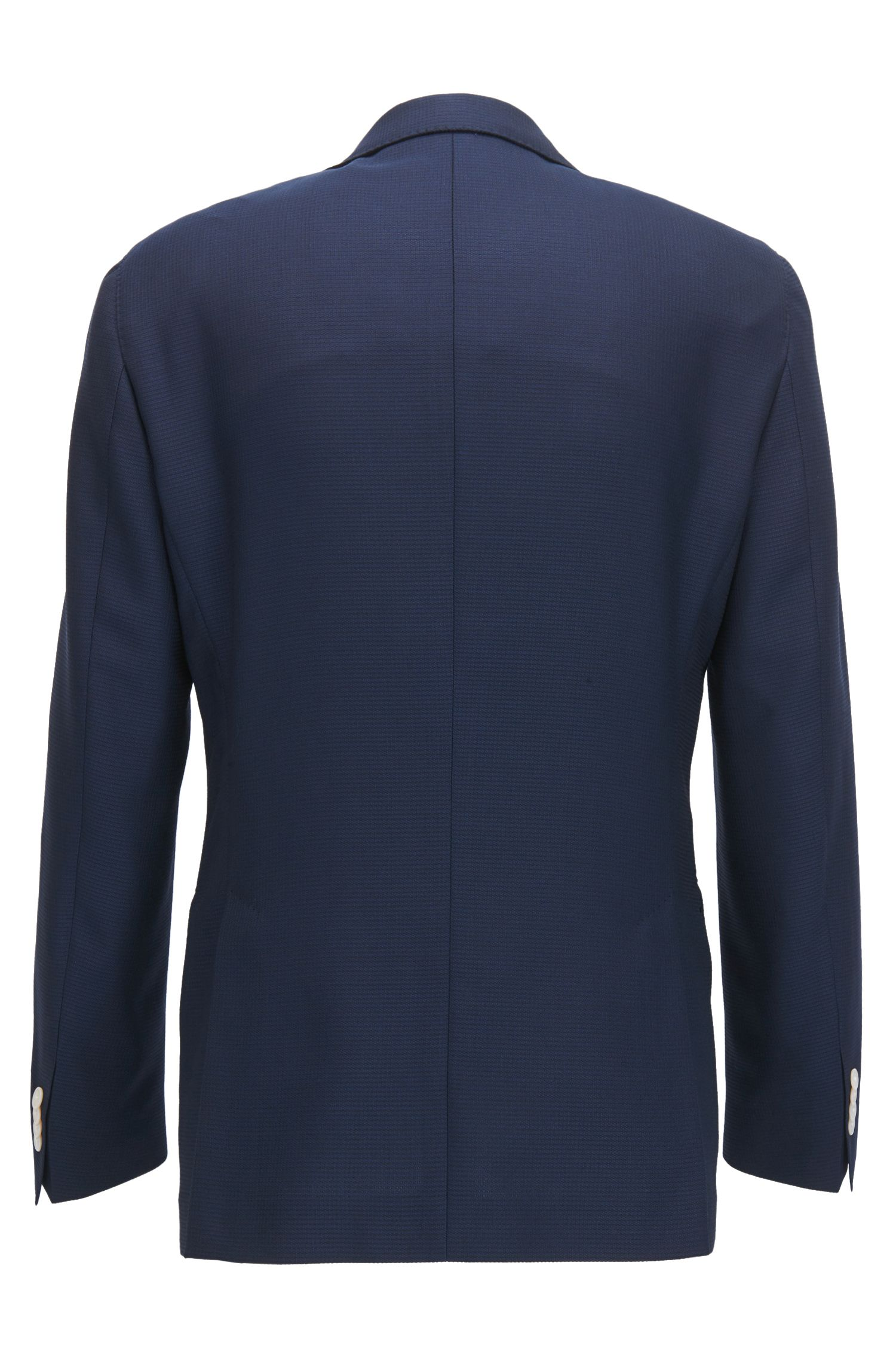 Slim-fit jacket in structured virgin wool with contrast details