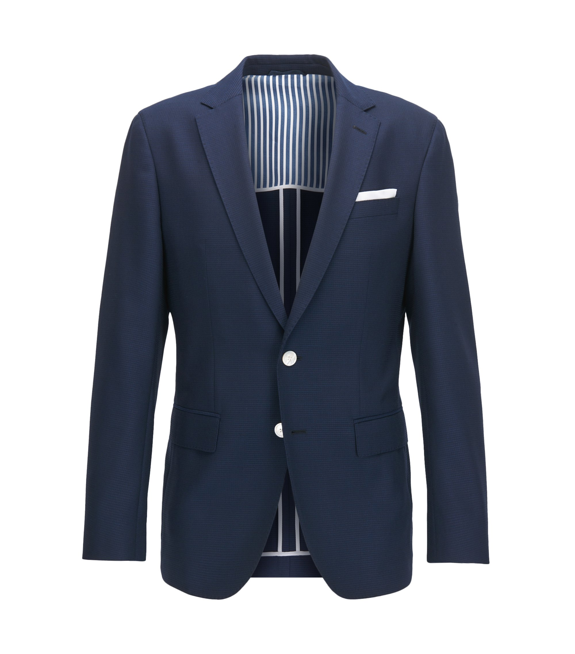 Slim-fit jacket in structured virgin wool with contrast details, Dark Blue