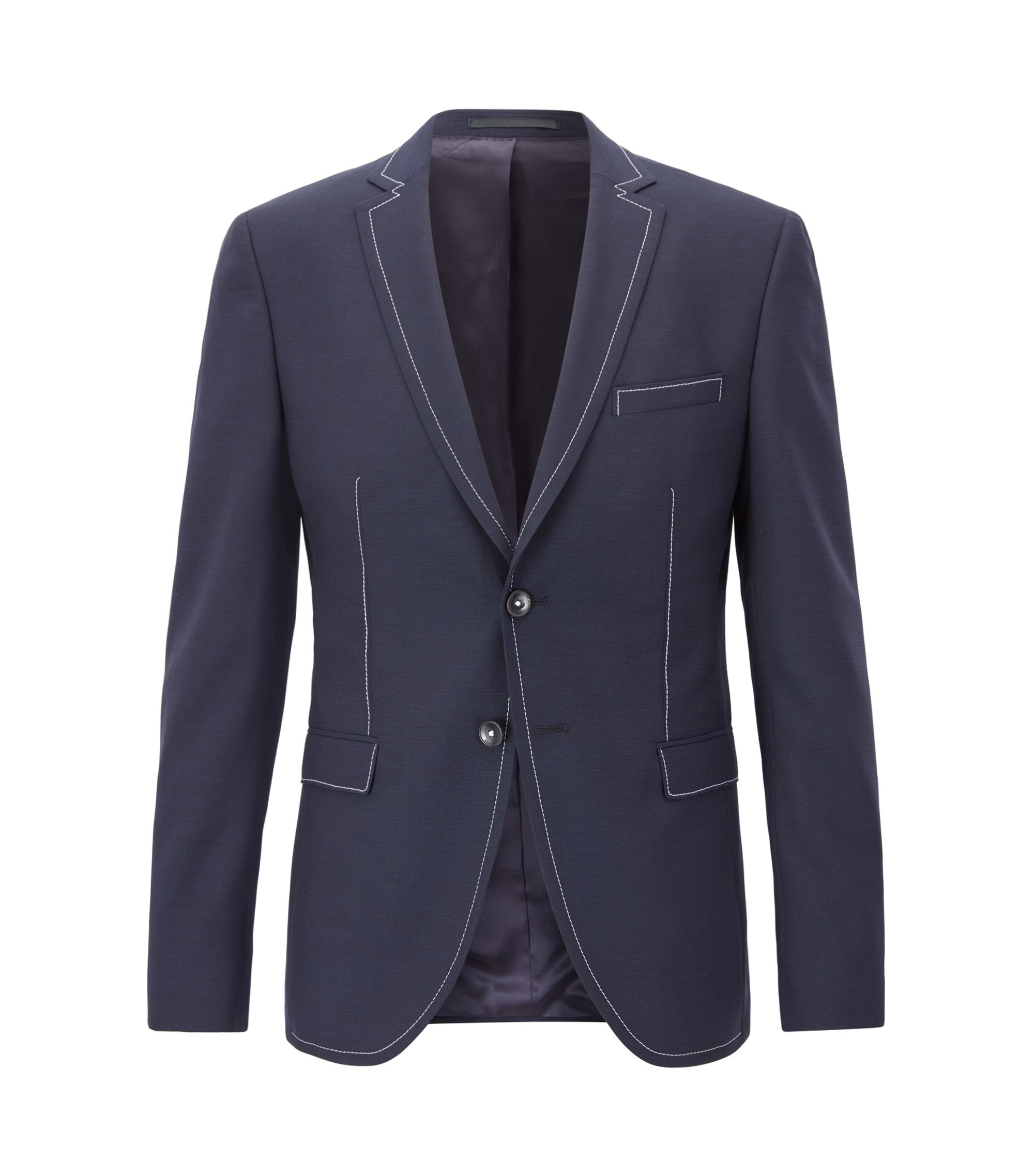 Extra-slim-fit jacket in virgin wool with contrast stitching, Dark Blue