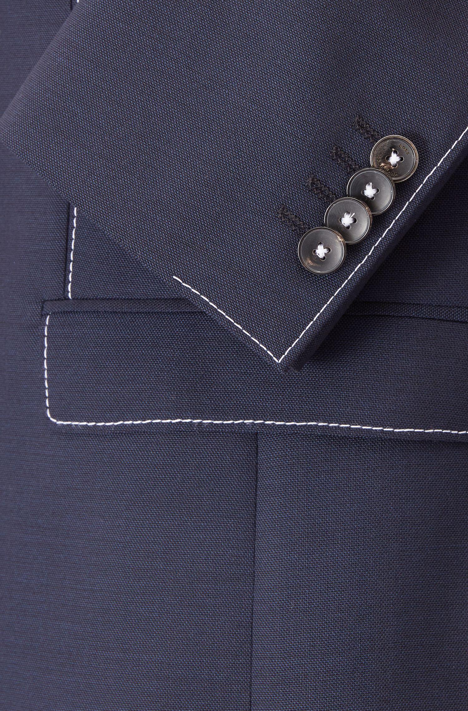 Chaqueta extra slim fit en lana virgen con costuras en contraste