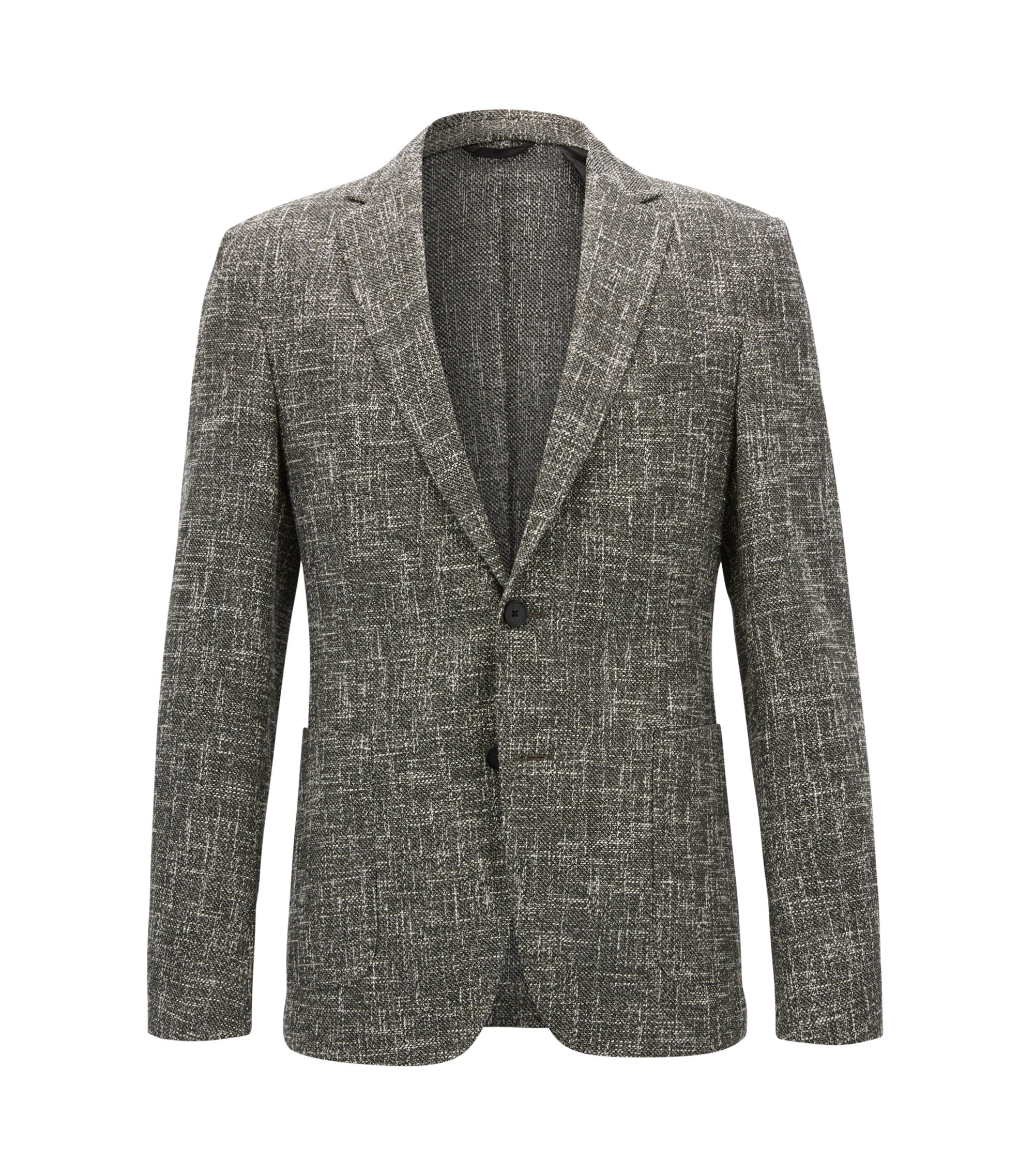 Slim-fit jacket in a melange cotton blend, Dark Green