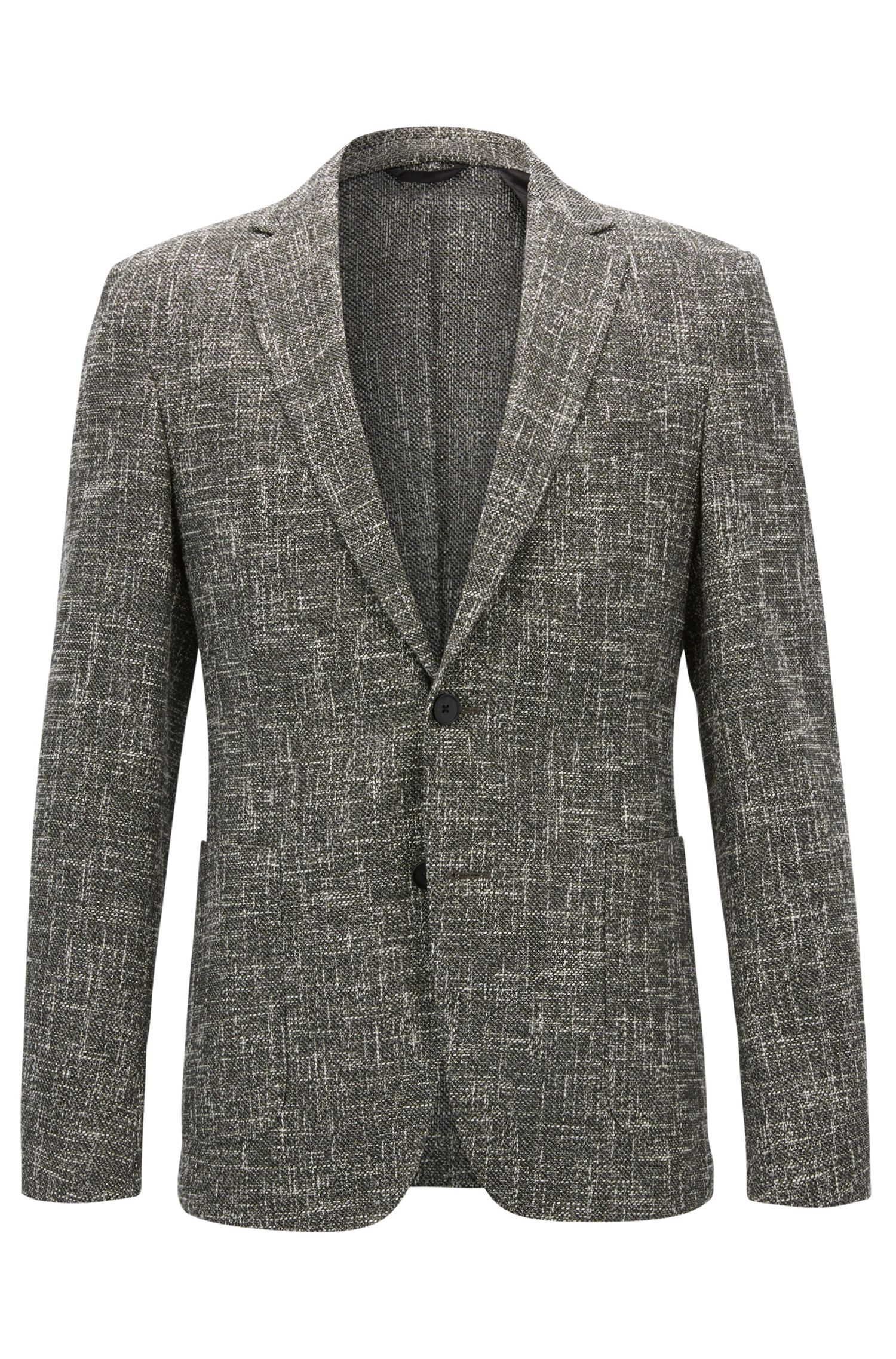 Slim-fit jacket in a melange cotton blend