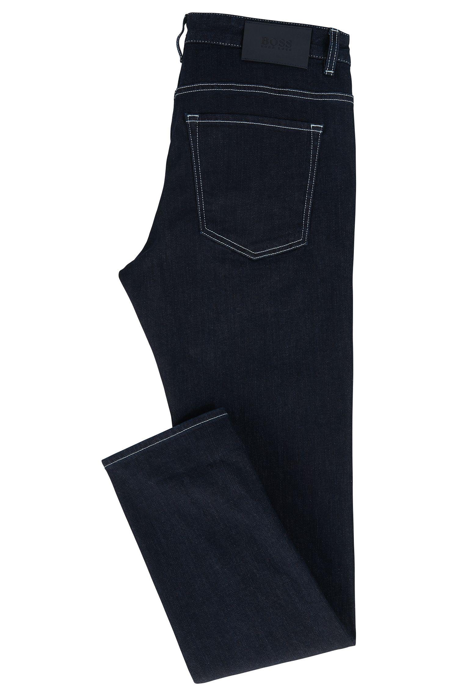 Jeans slim fit in denim elasticizzato blu scuro con motivo all'interno