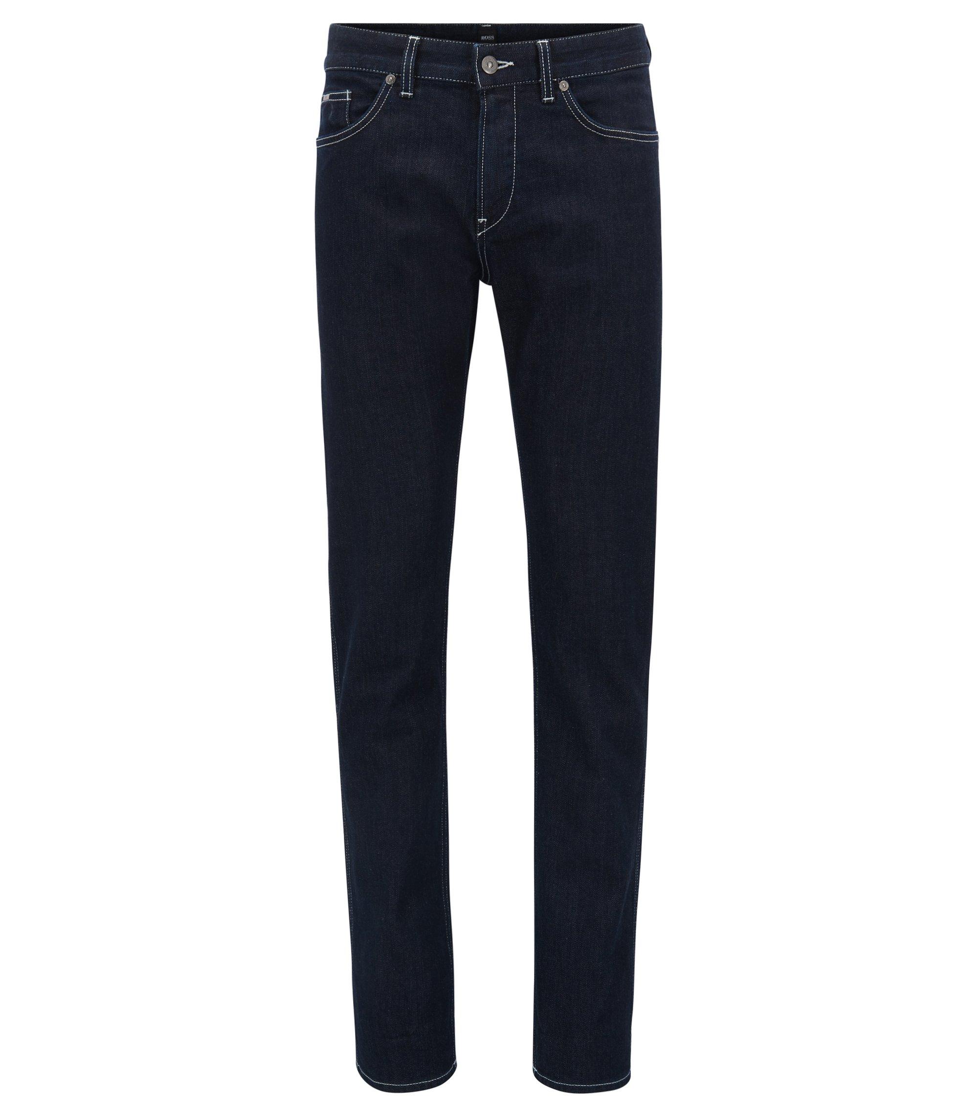 Slim-fit dark-blue stretch denim jeans with internal pattern, Dark Blue