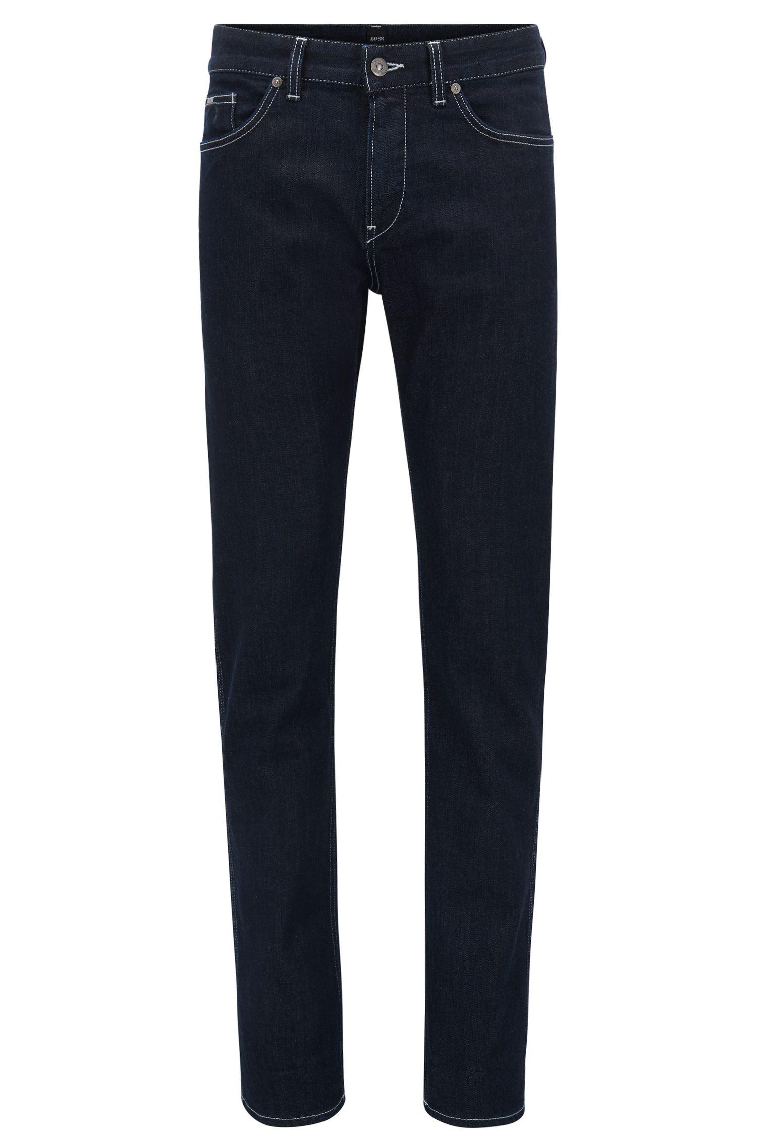 Slim-fit jeans van donkerblauw stretchdenim met dessin binnenin