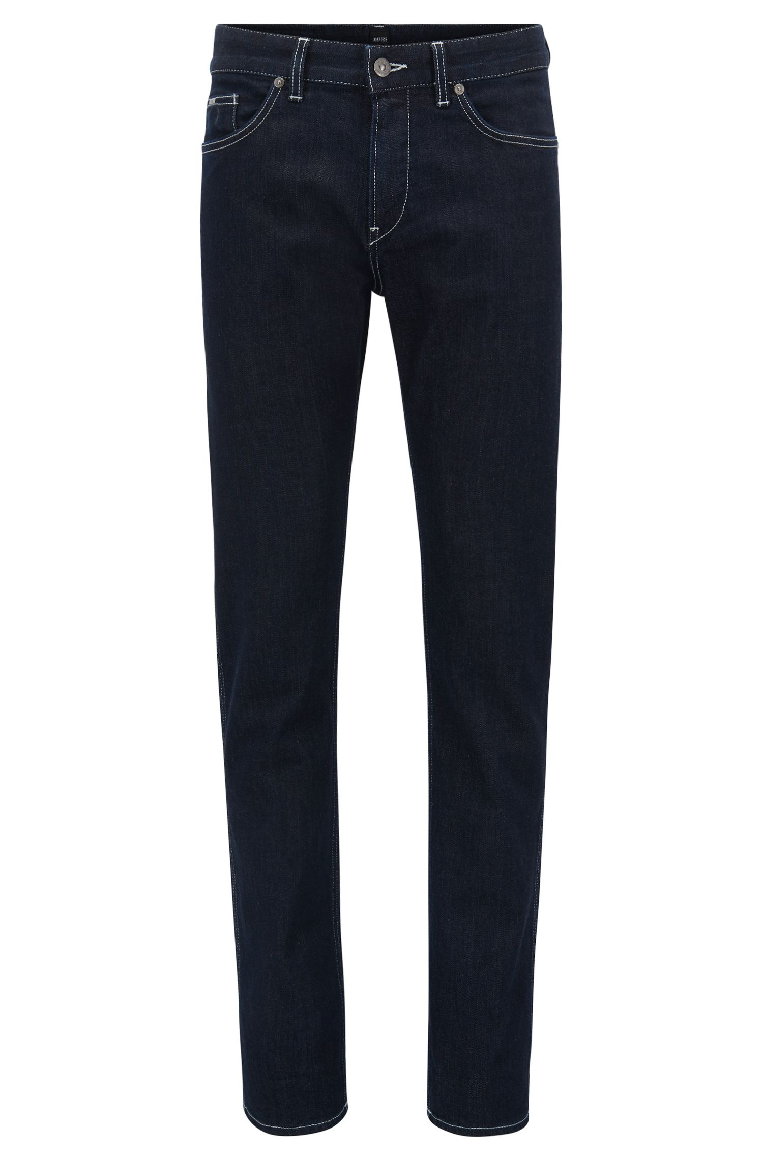 Slim-fit dark-blue stretch denim jeans with internal pattern