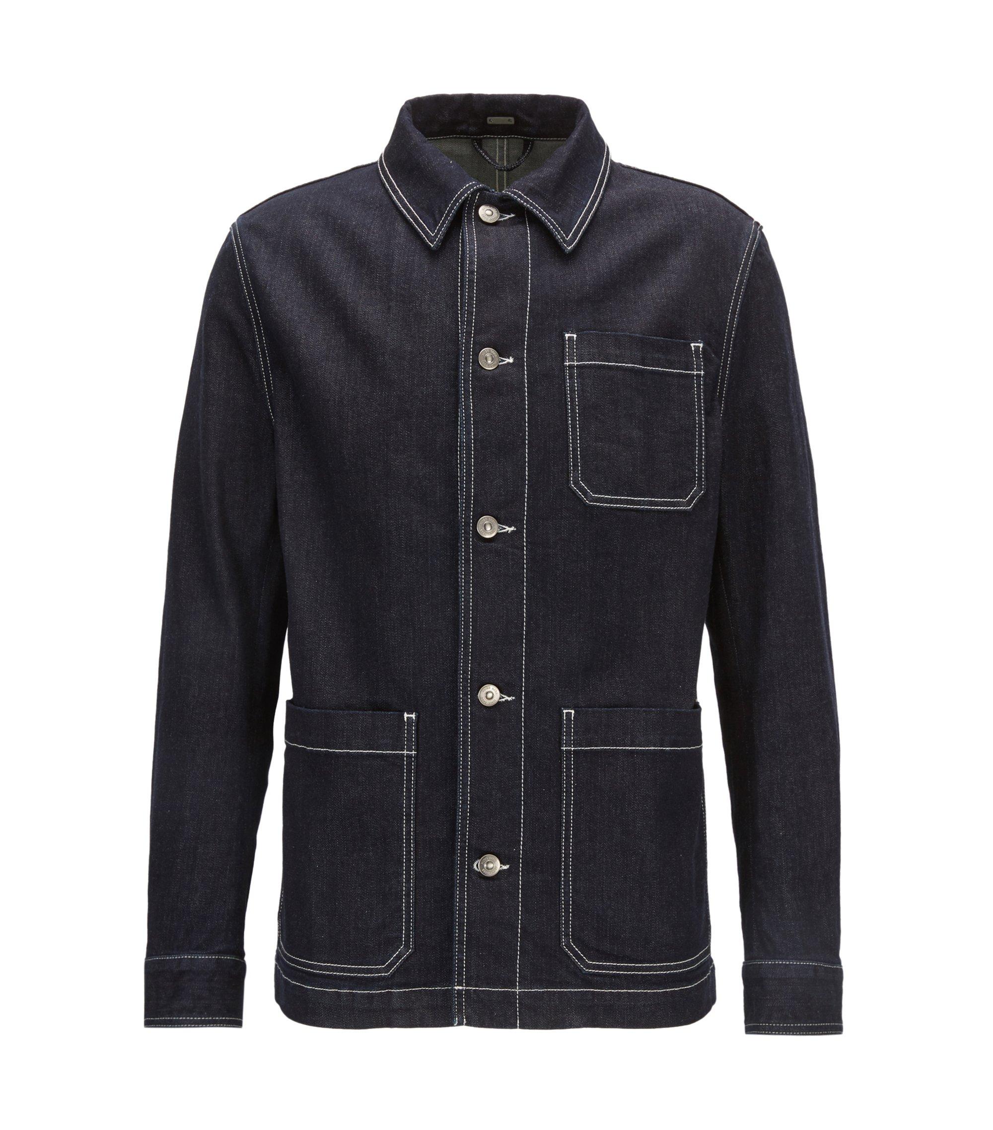 Stretch-denim jacket with Kent collar, Dark Blue