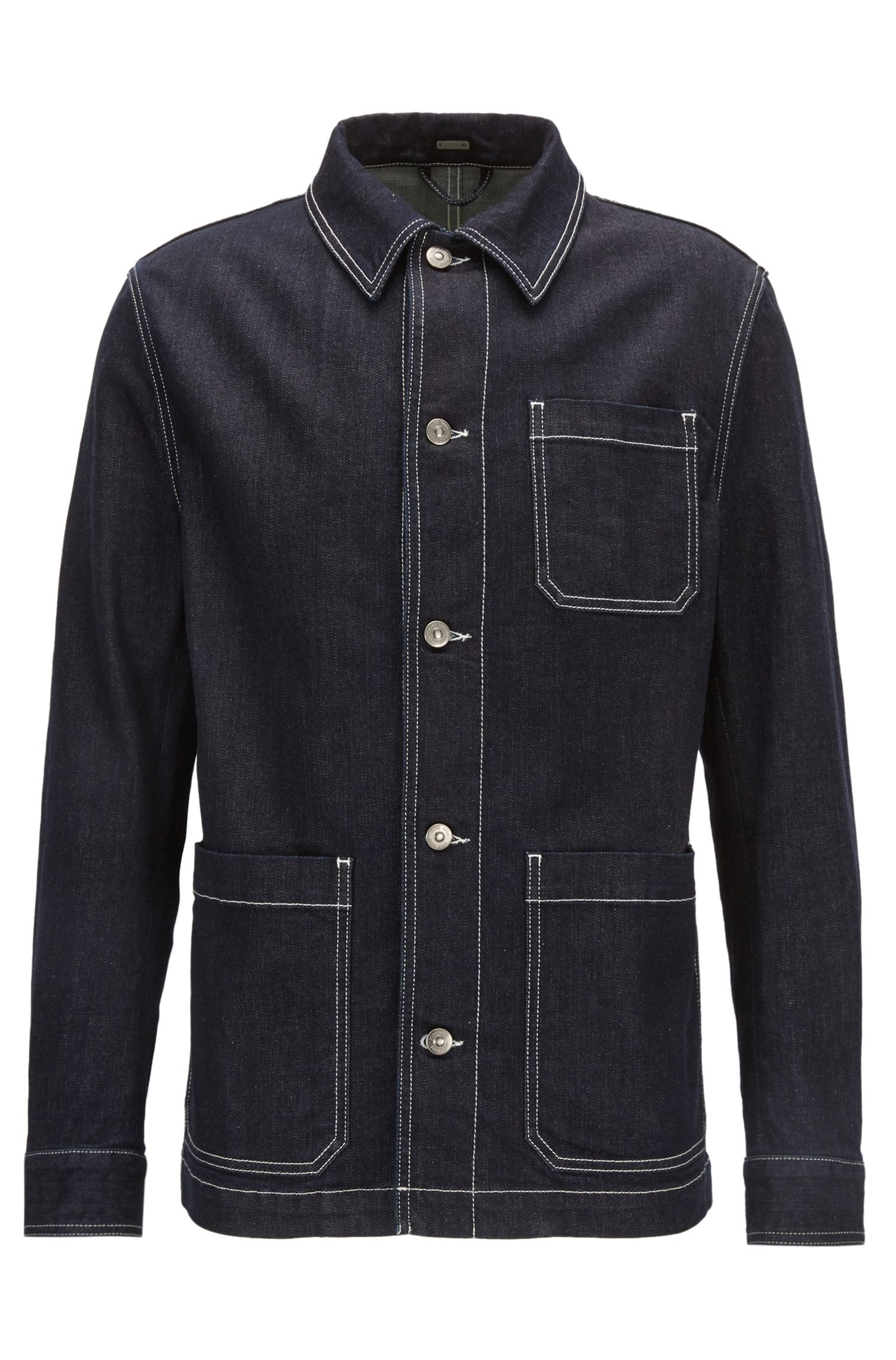Veste en denim stretch à col Kent