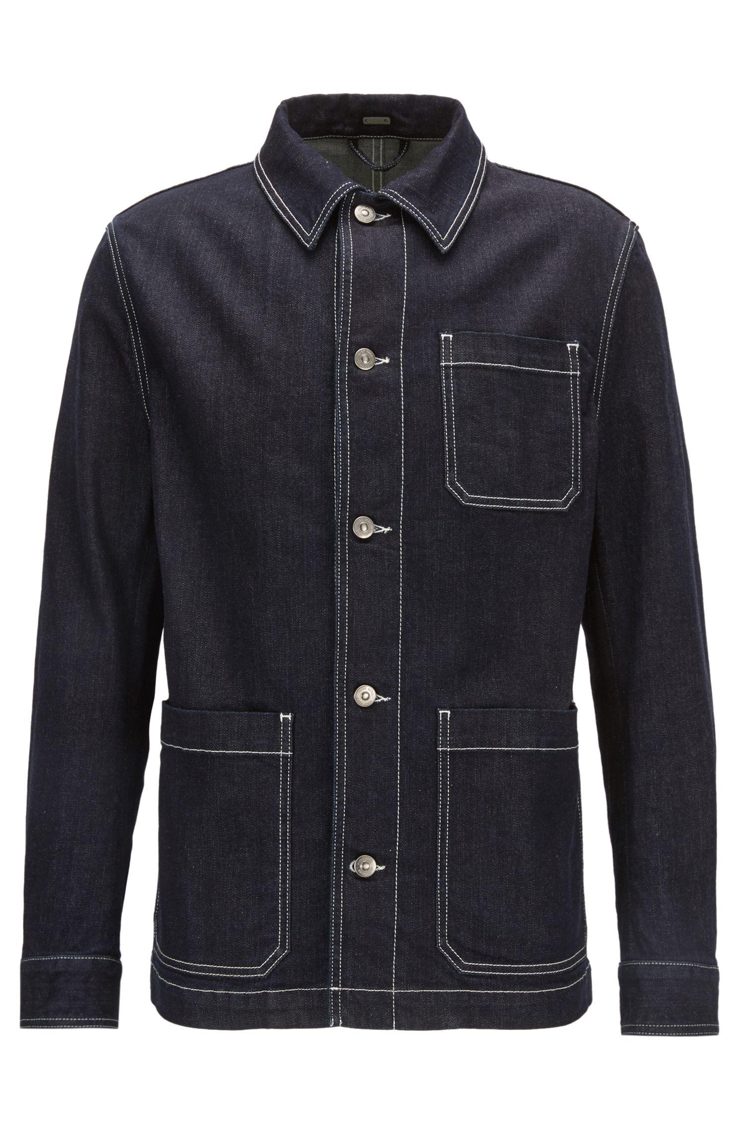 Stretch-denim jacket with Kent collar