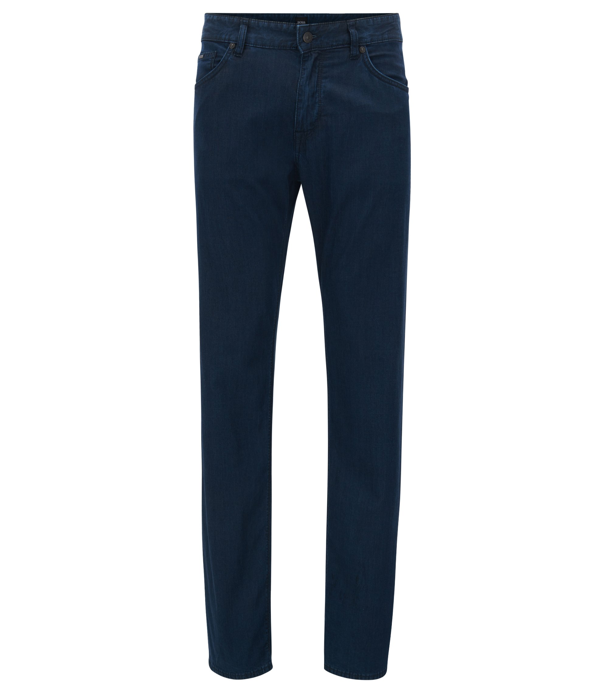 Regular-fit dark-blue jeans in lightweight stretch denim, Dark Blue