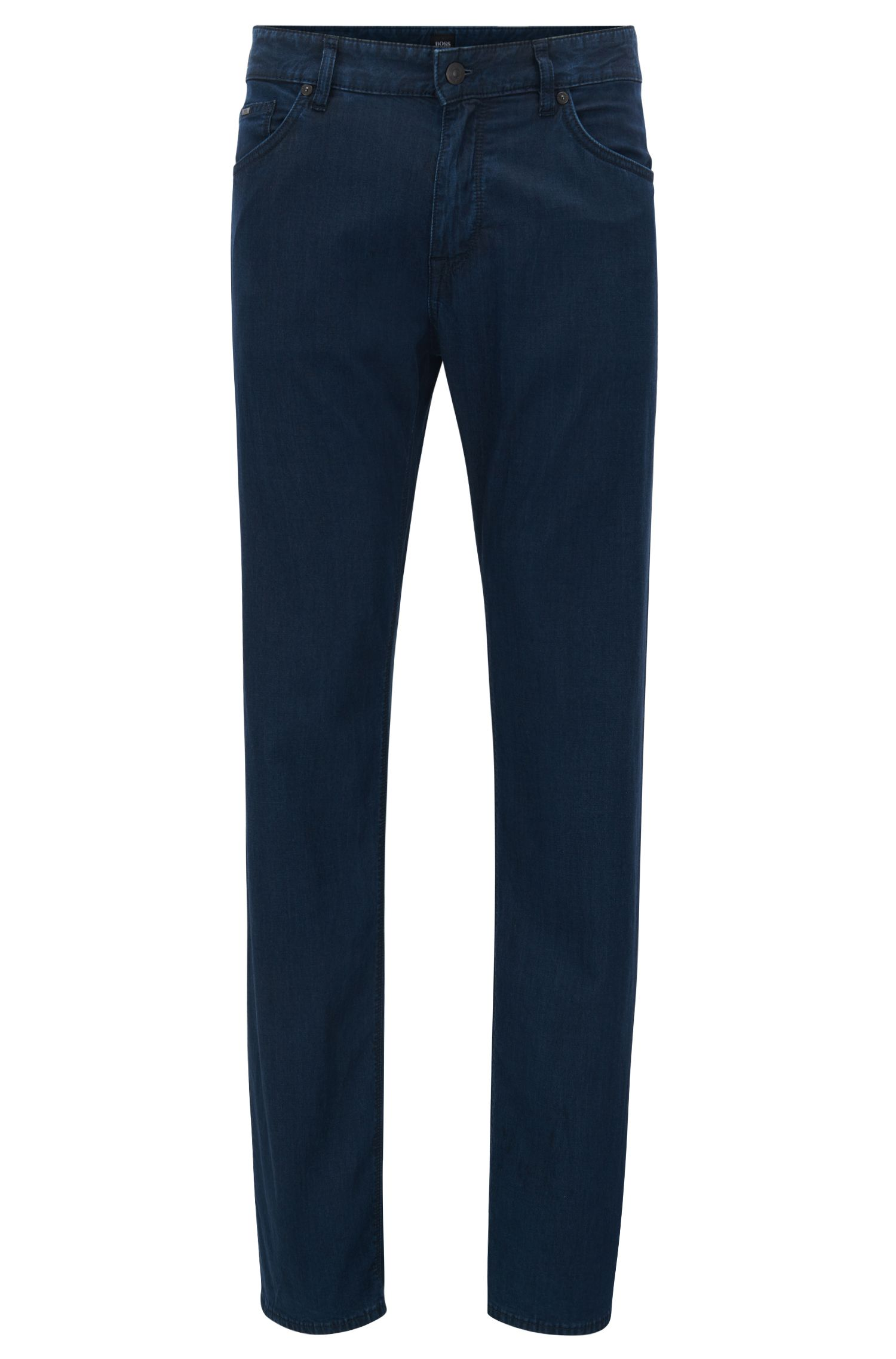 Regular-fit dark-blue jeans in lightweight stretch denim BOSS
