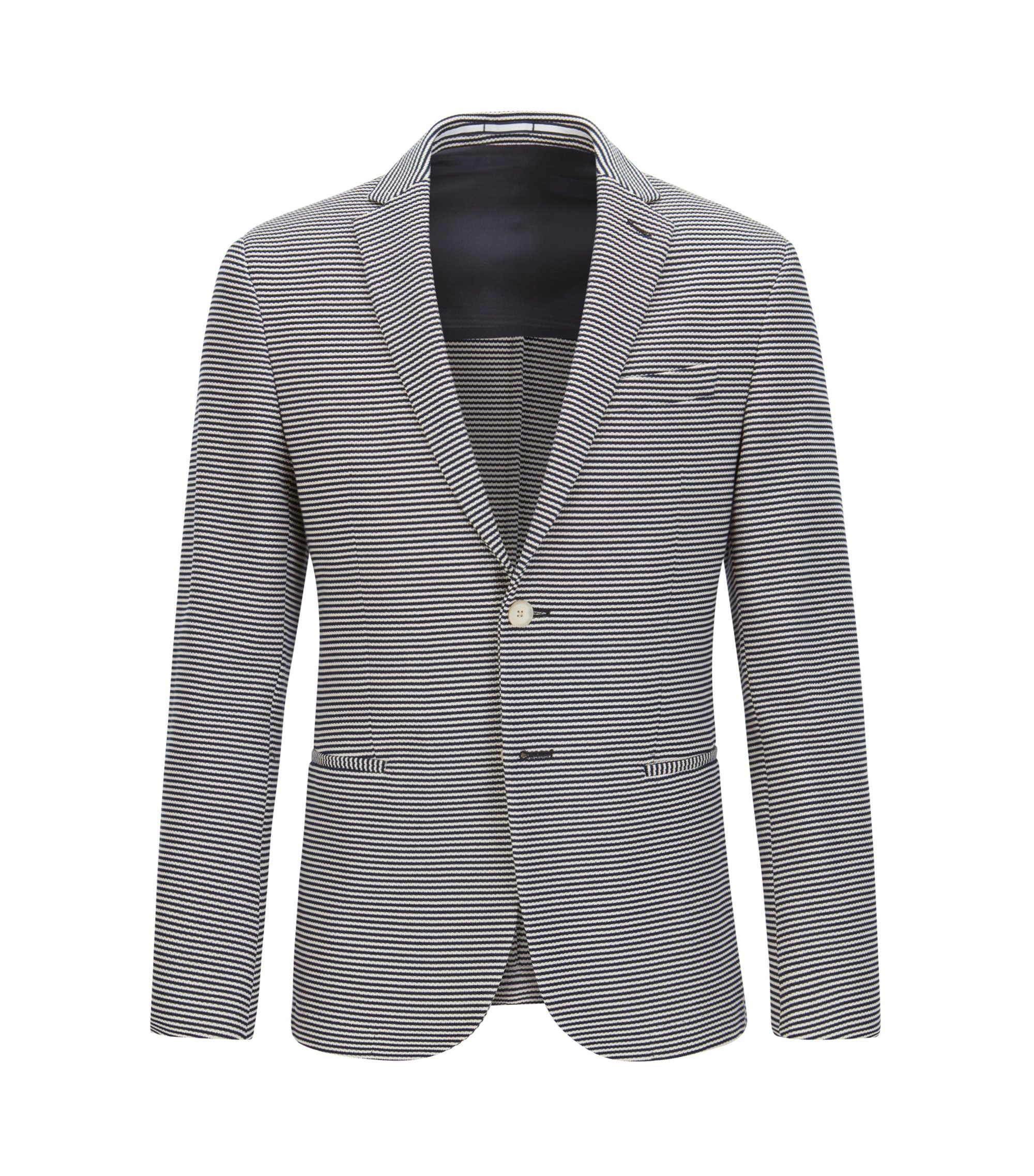 Striped cotton jacket in a slim fit, Dark Blue