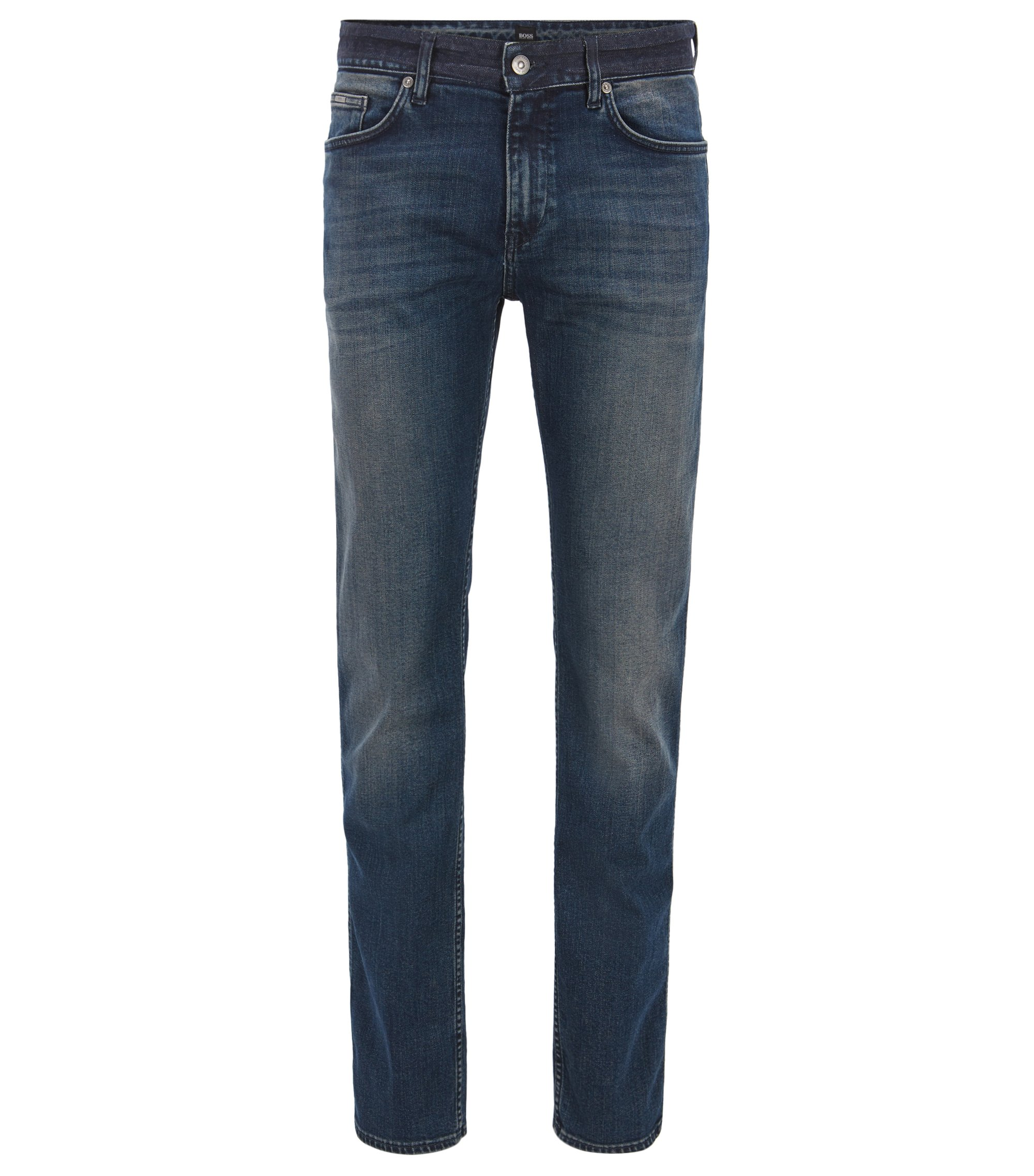 Jean Slim Fit en denim stretch authentique, Bleu foncé