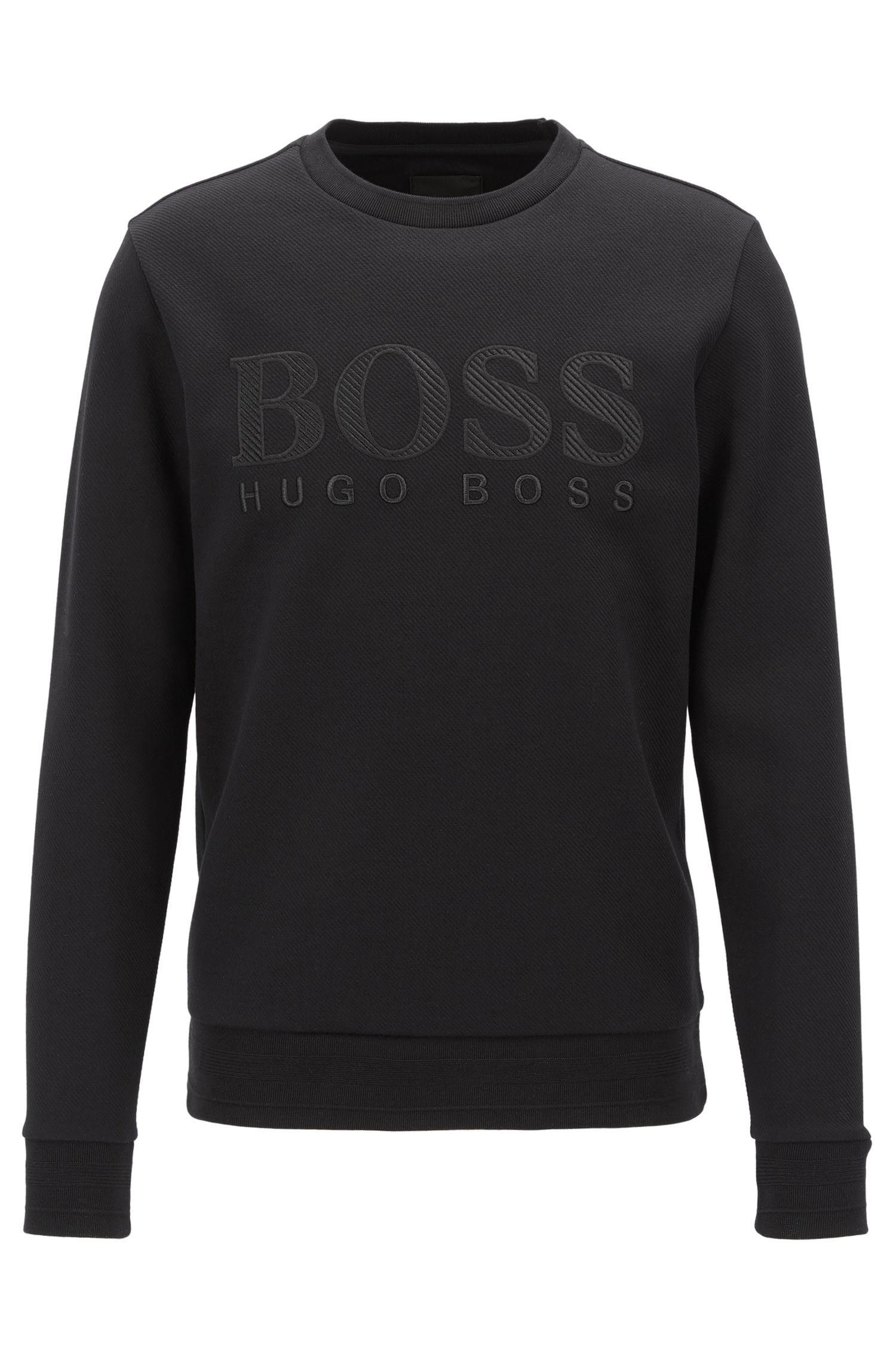 Slim-Fit Sweatshirt aus Baumwoll-Mix mit 3D-Logostickerei