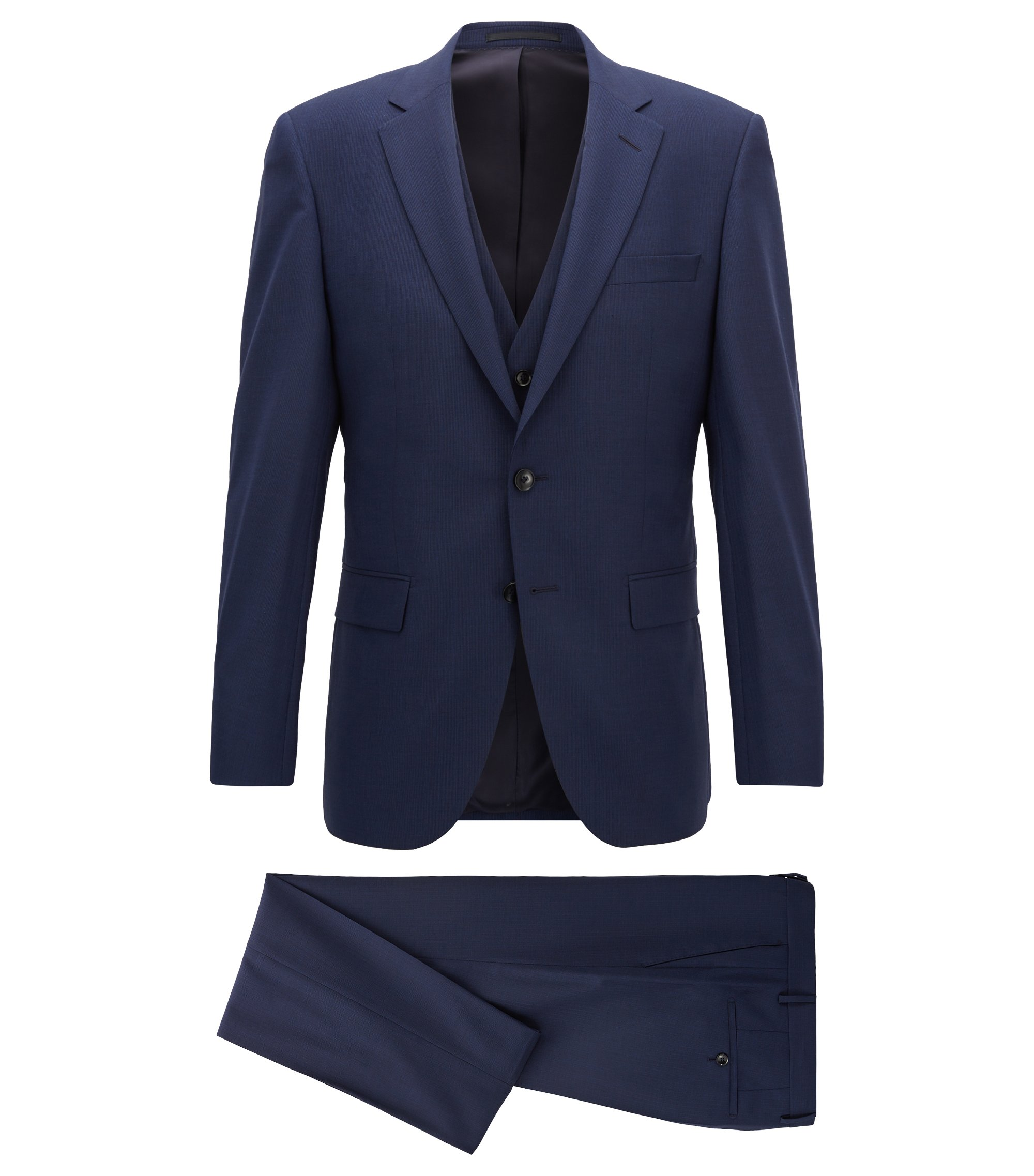 Slim-fit three-piece suit in textured-stripe virgin wool, Dark Blue