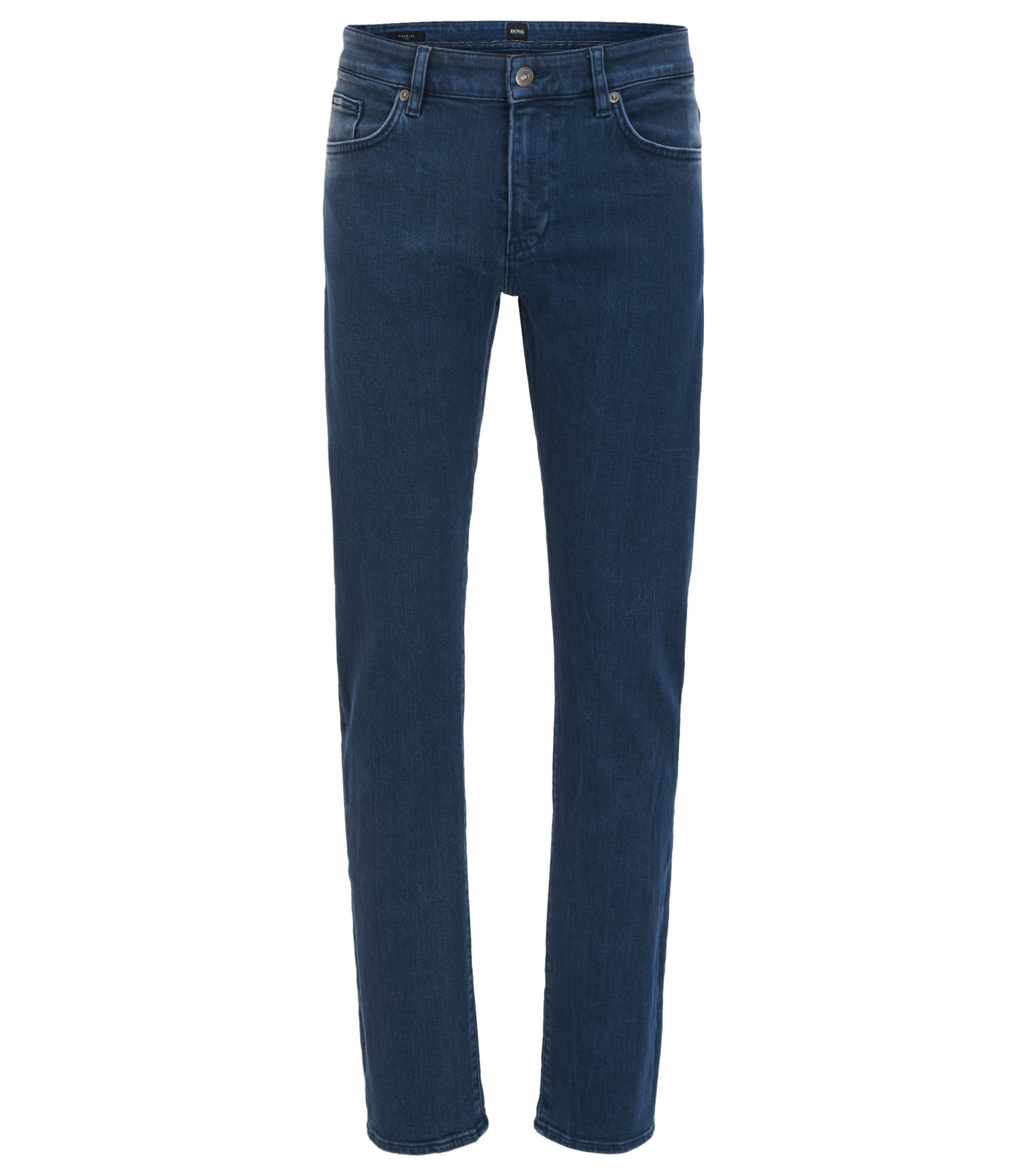 Jean Slim Fit en denim stretch italien, Bleu foncé