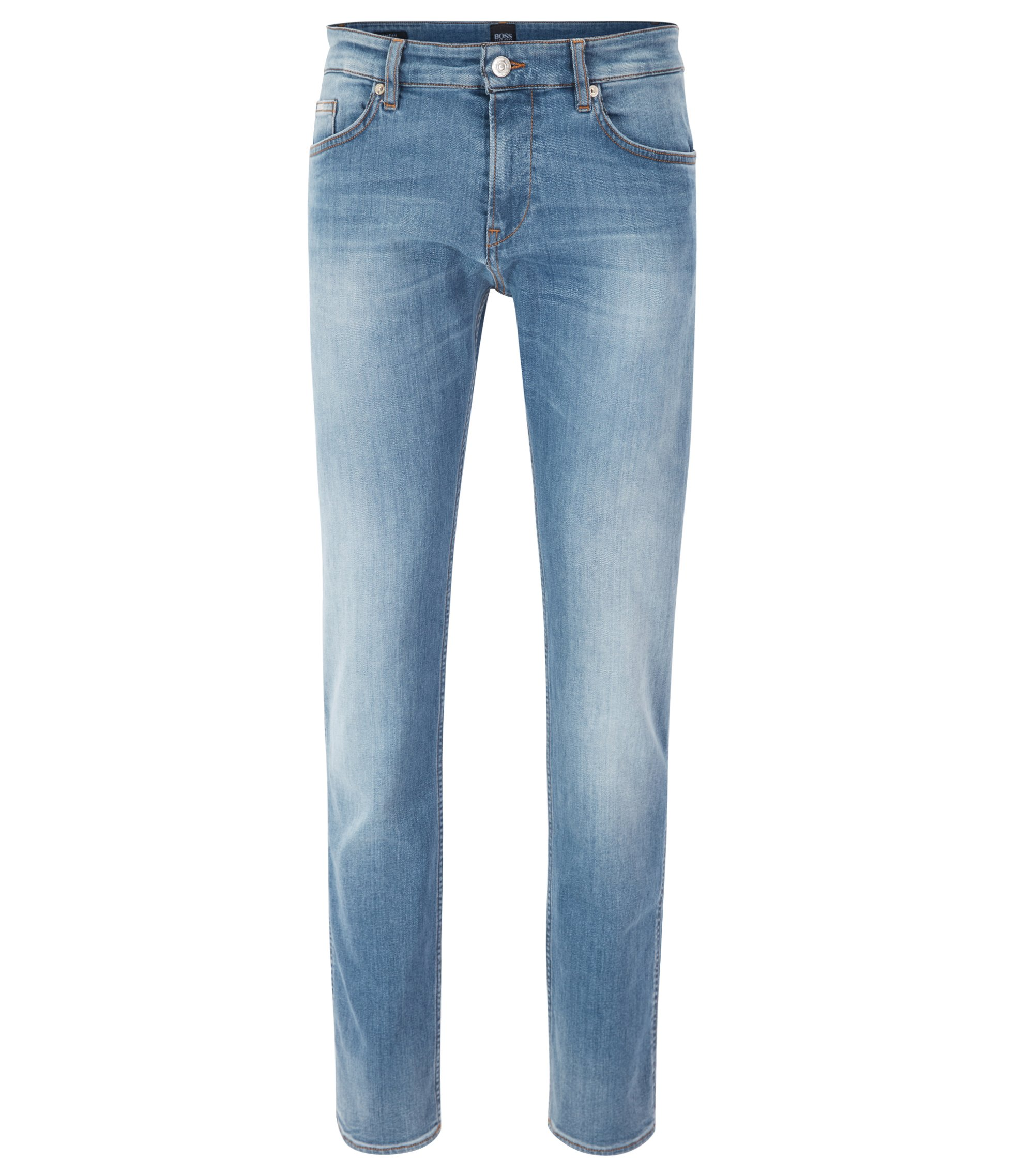 Jean Slim Fit en denim stretch italien bleu moyen, Bleu