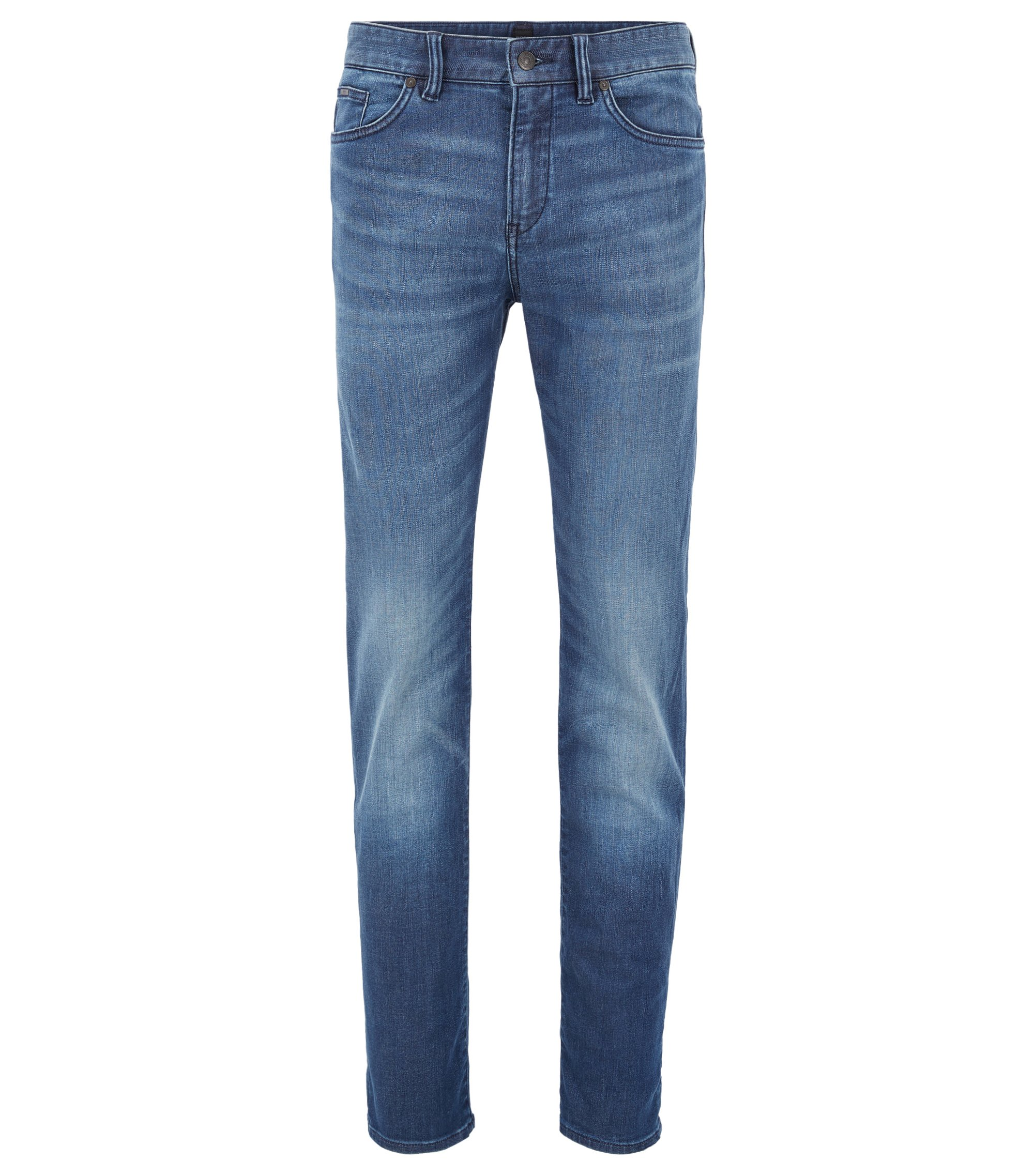 Mid-blue slim-fit jeans in stretch denim, Blue