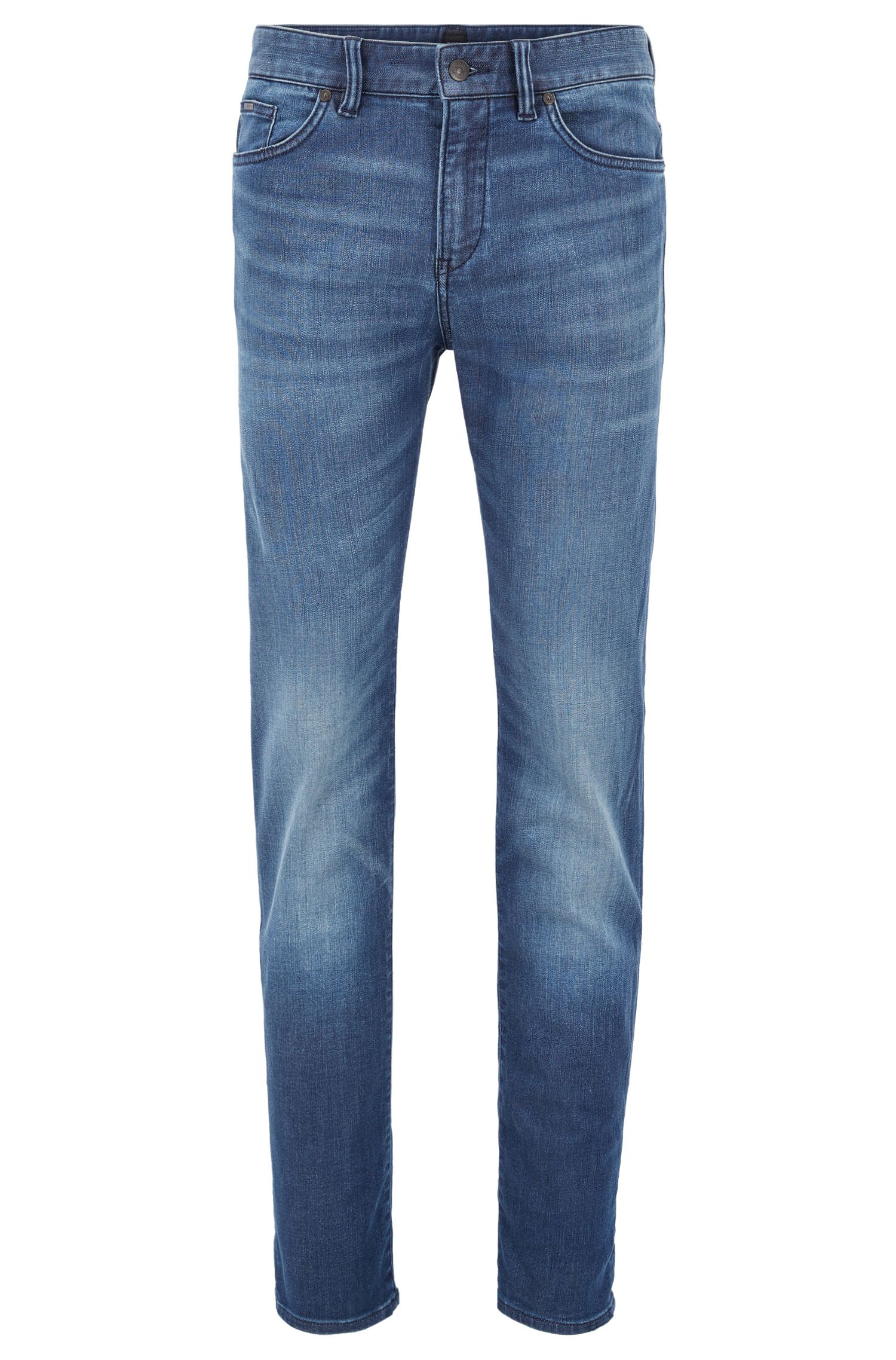 Mid-blue slim-fit jeans in stretch denim