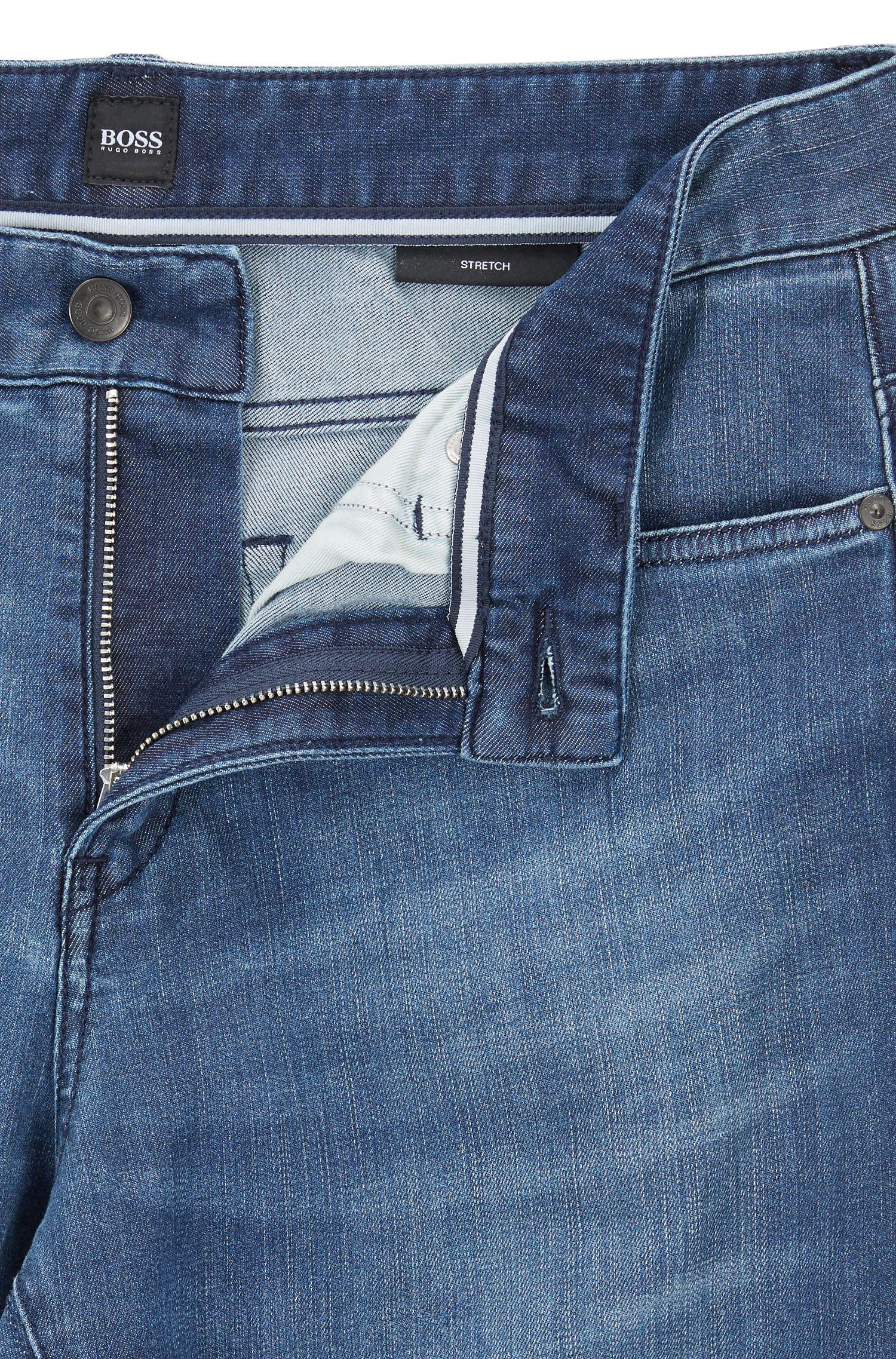 Middelblauwe slim-fit jeans van stretchdenim