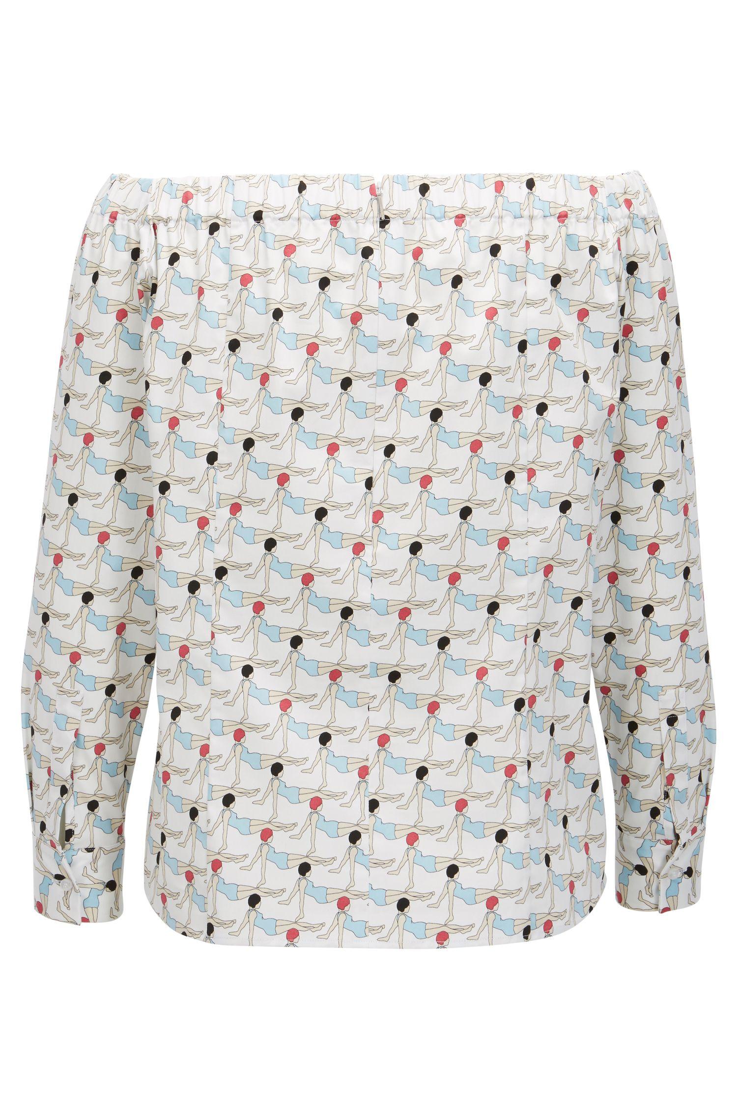 Schulterfreie Bluse aus Stretch-Baumwolle mit Print