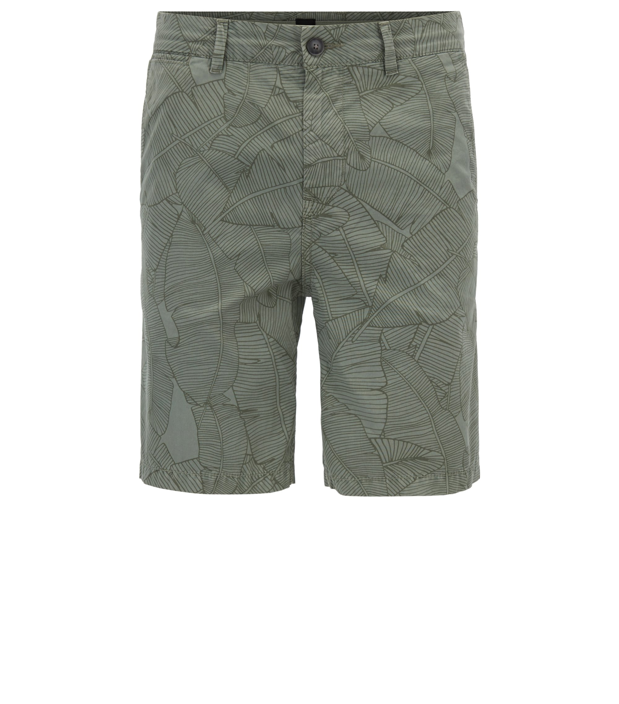 Tapered-fit cotton shorts with banana-leaf print, Light Green