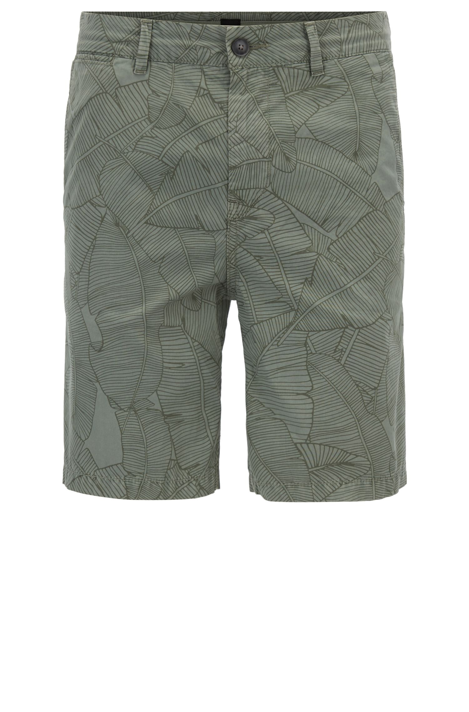 Shorts de algodón tapered fit con estampado de hoja de banano