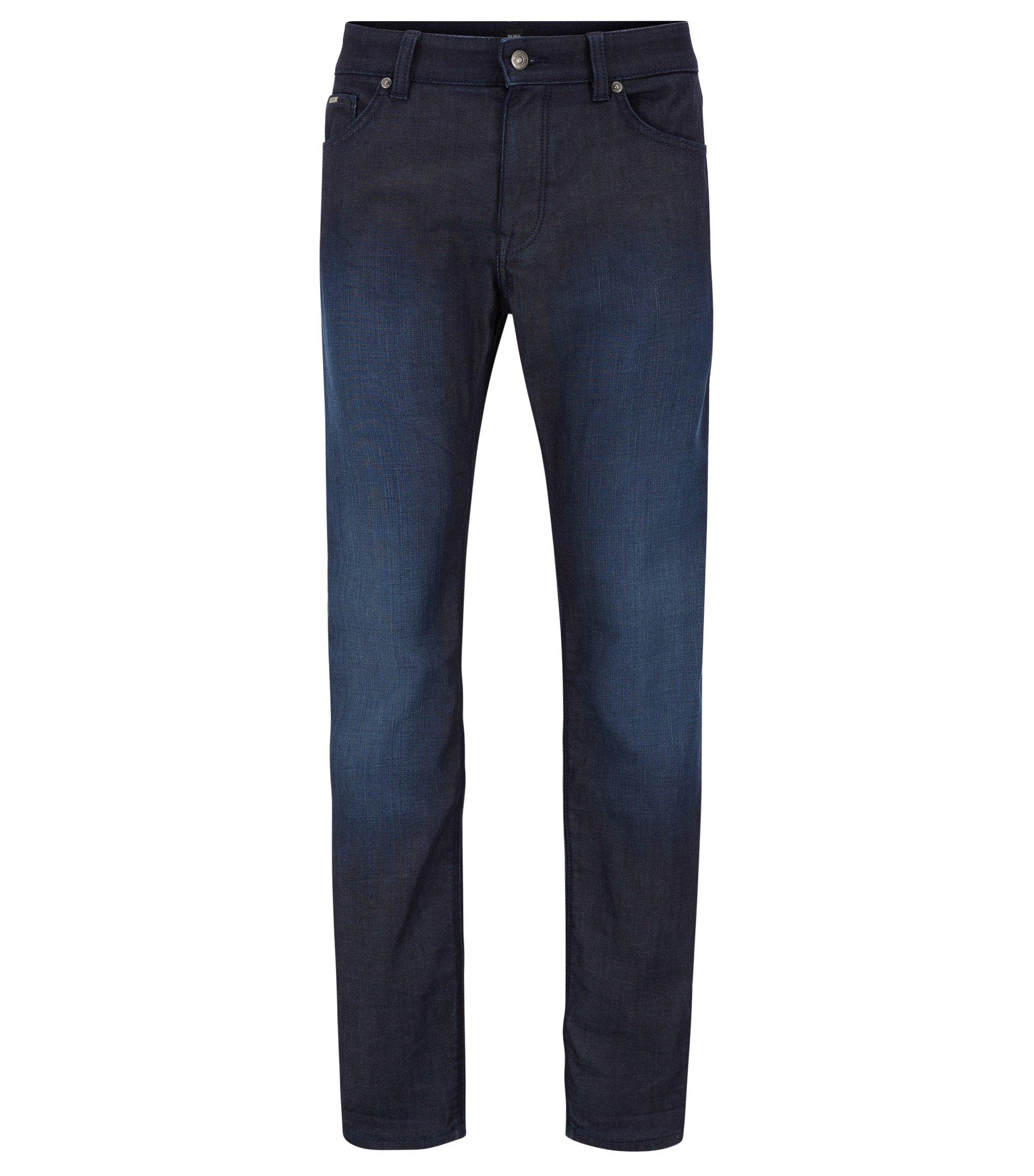 Regular-Fit Jeans aus elastischem Baumwoll-Mix, Dunkelblau
