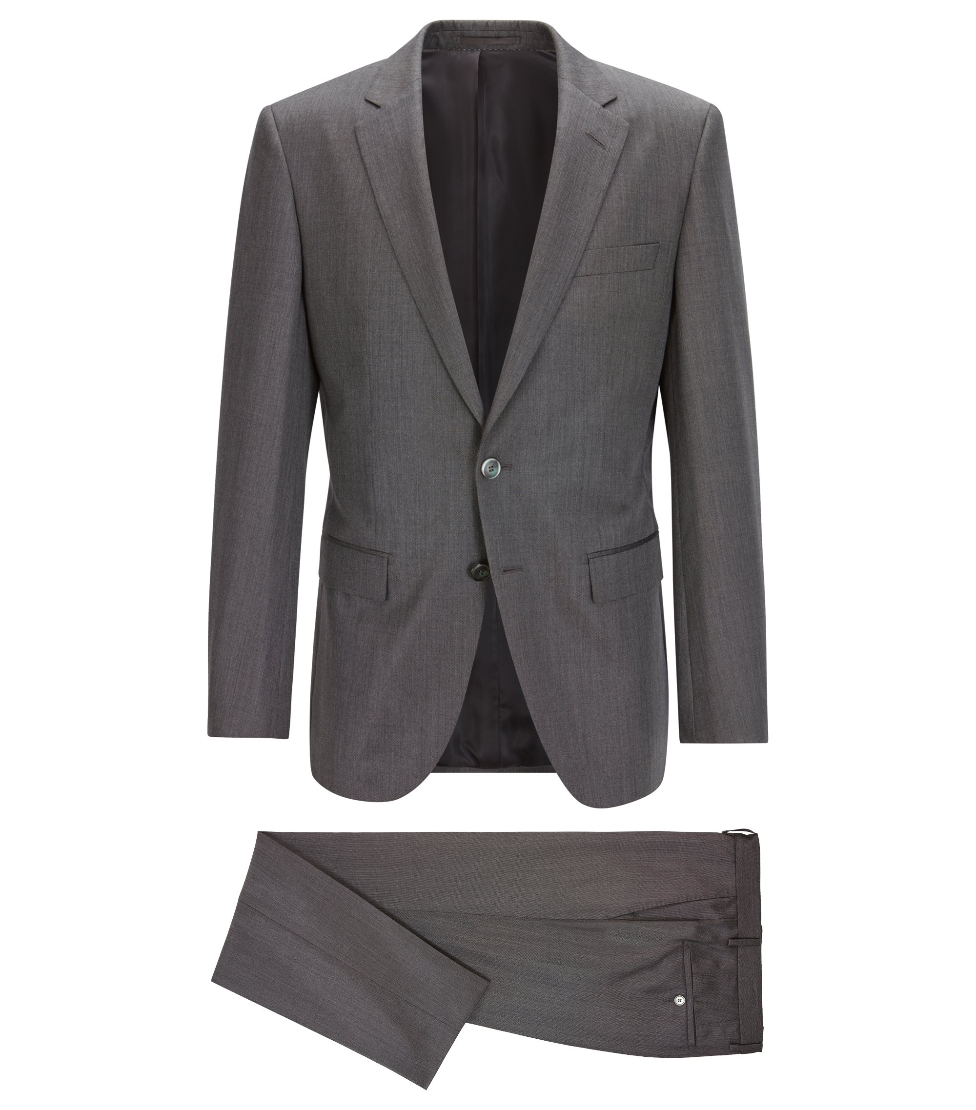 Slim-Fit Anzug aus garngefärbter Seide, Grau