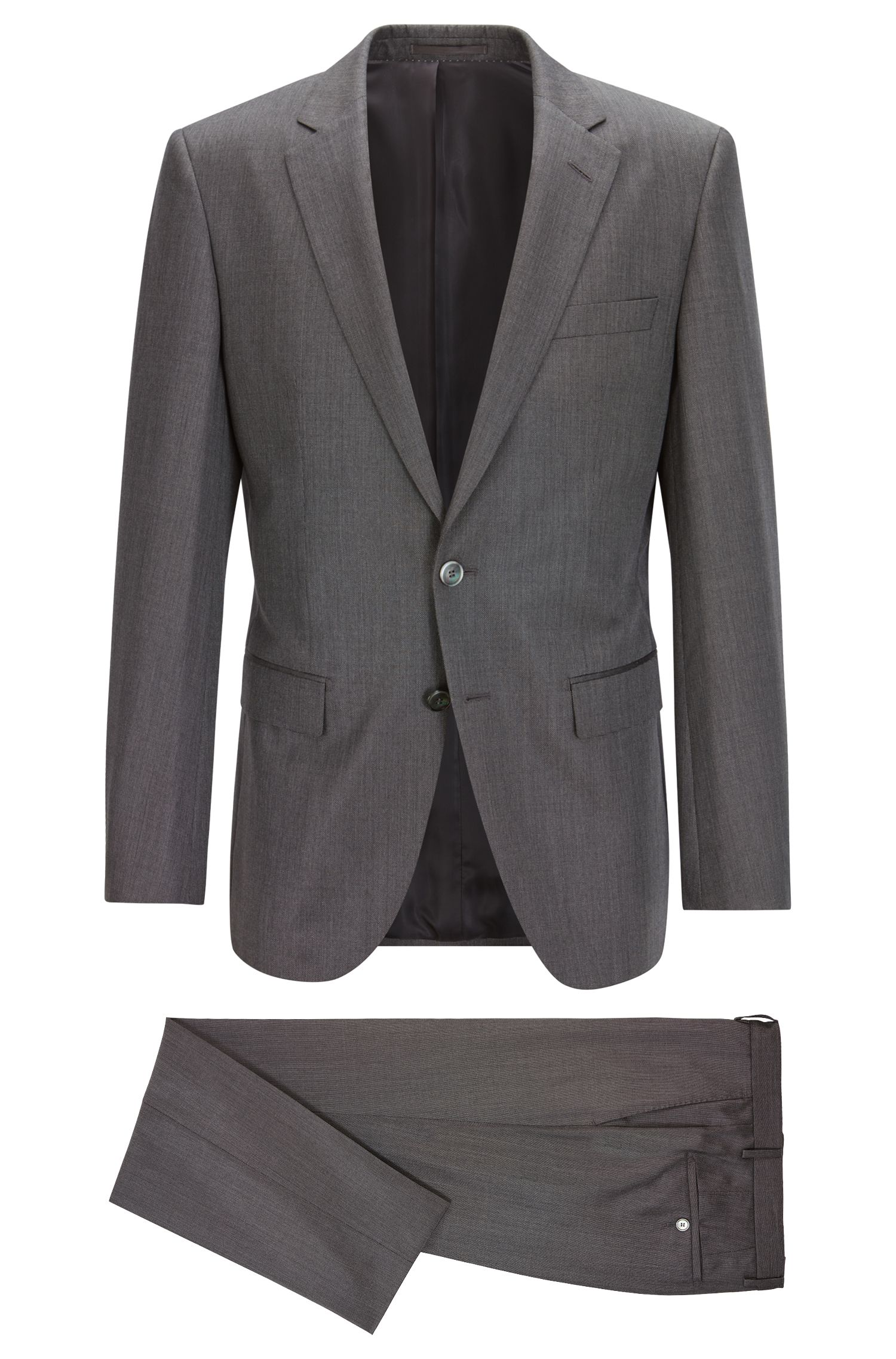 Slim-fit suit in pure yarn-dyed silk