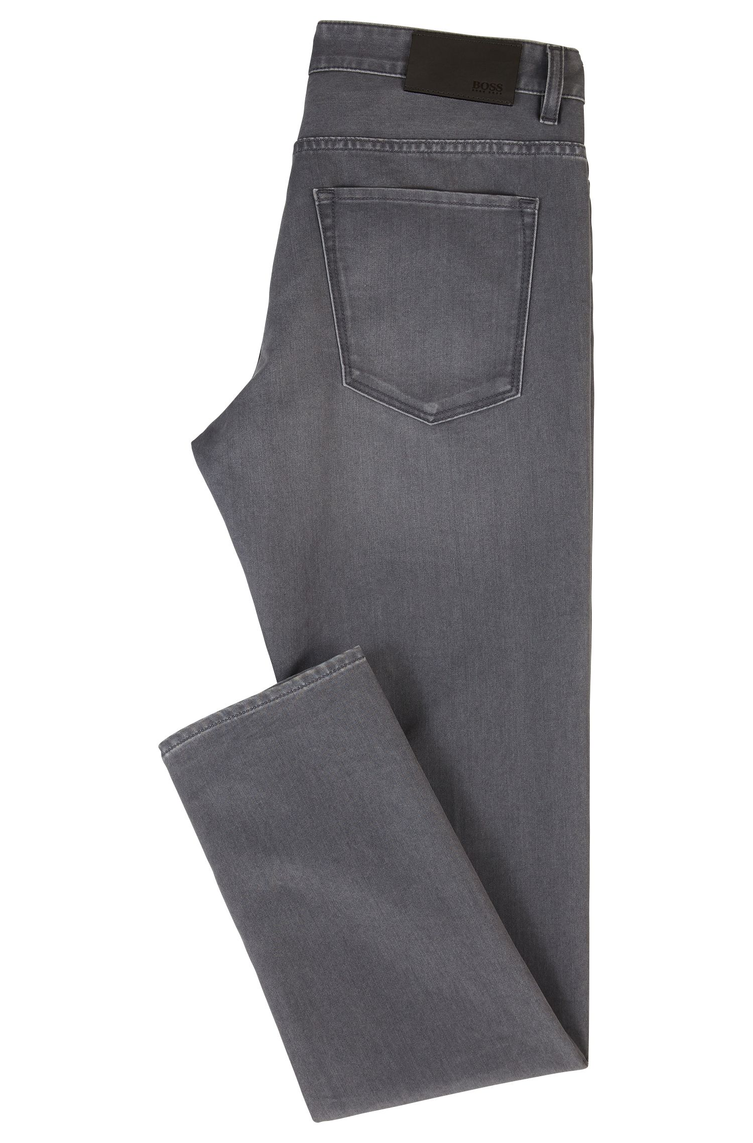 Slim-fit jeans van grijs, comfortabel stretchdenim