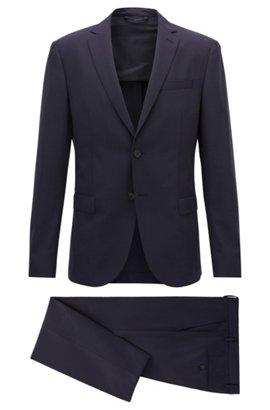Slim-fit suit in stretch virgin wool, Dark Blue. Slim-fit suit in stretch  virgin wool by BOSS