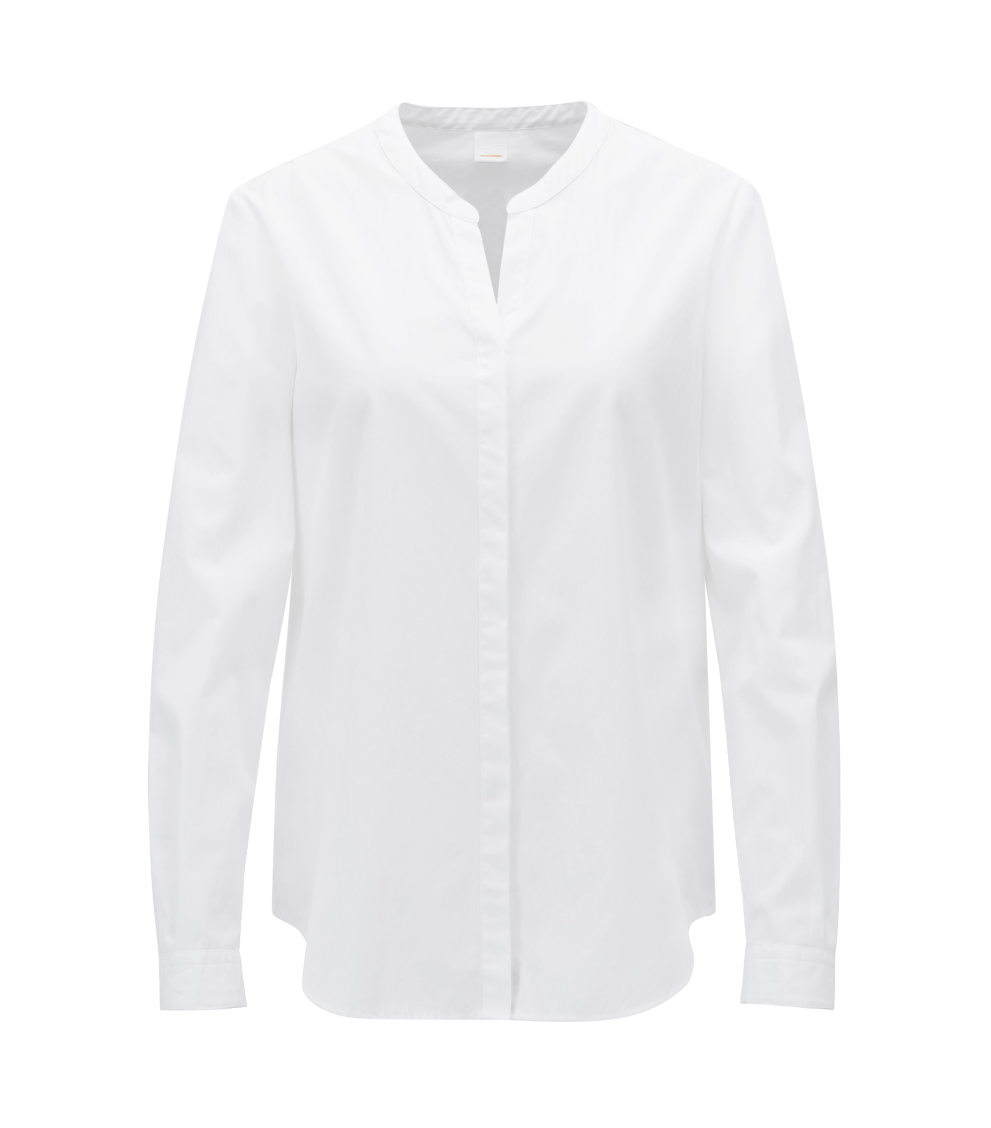 Relaxed-fit blouse in garment-washed katoen, Wit
