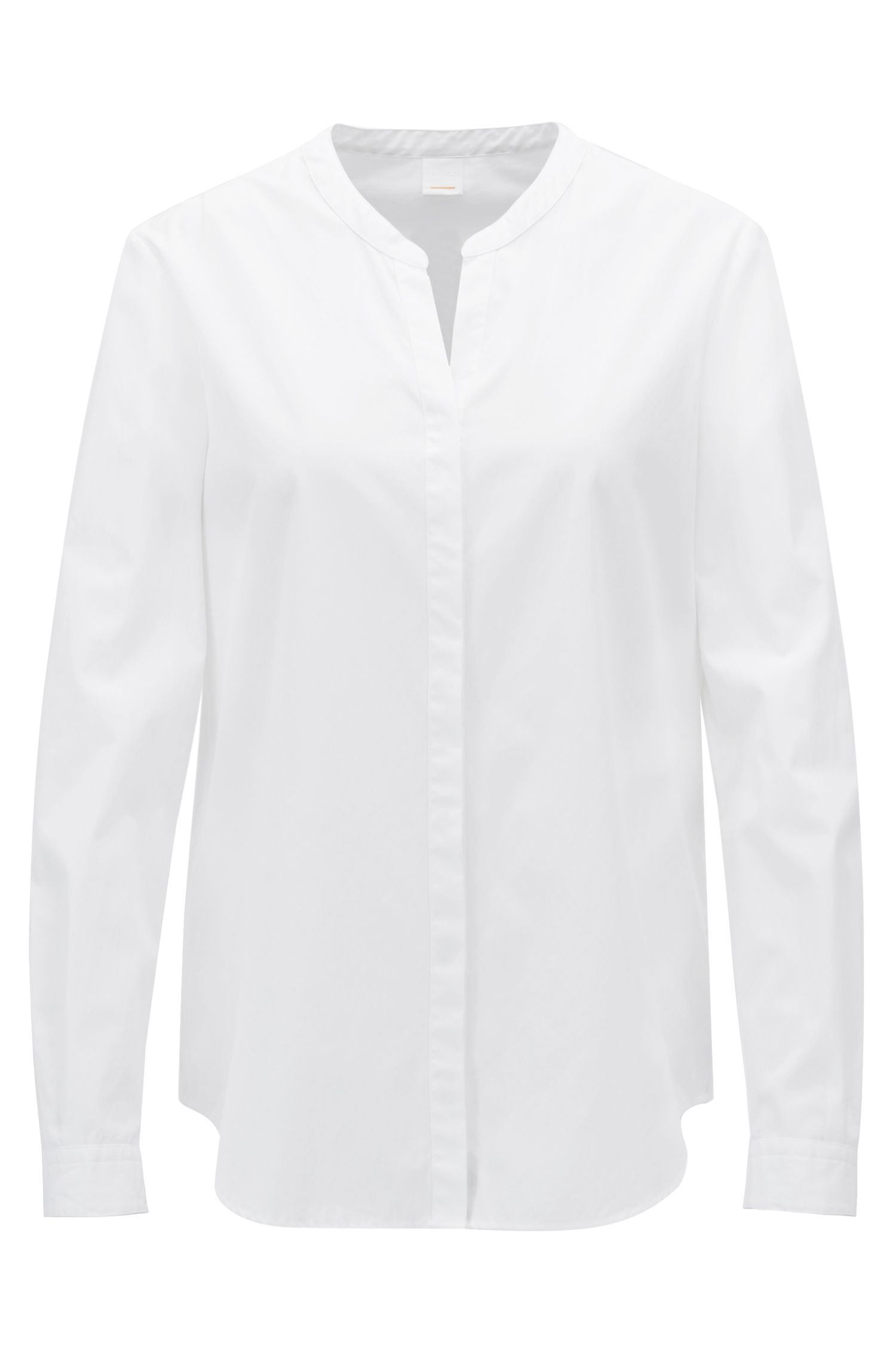 Relaxed-fit blouse in garment-washed katoen