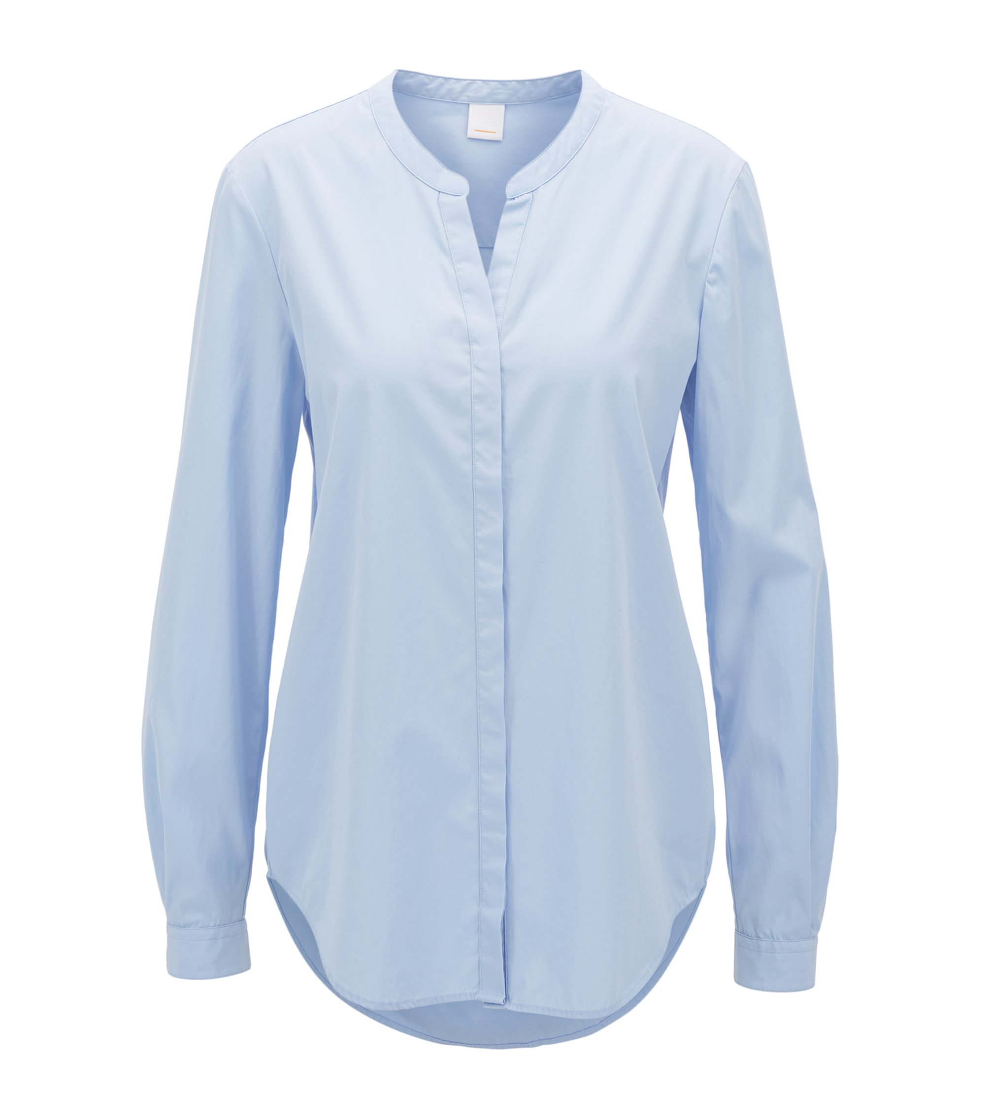 Relaxed-fit blouse in garment-washed katoen, Donkerblauw