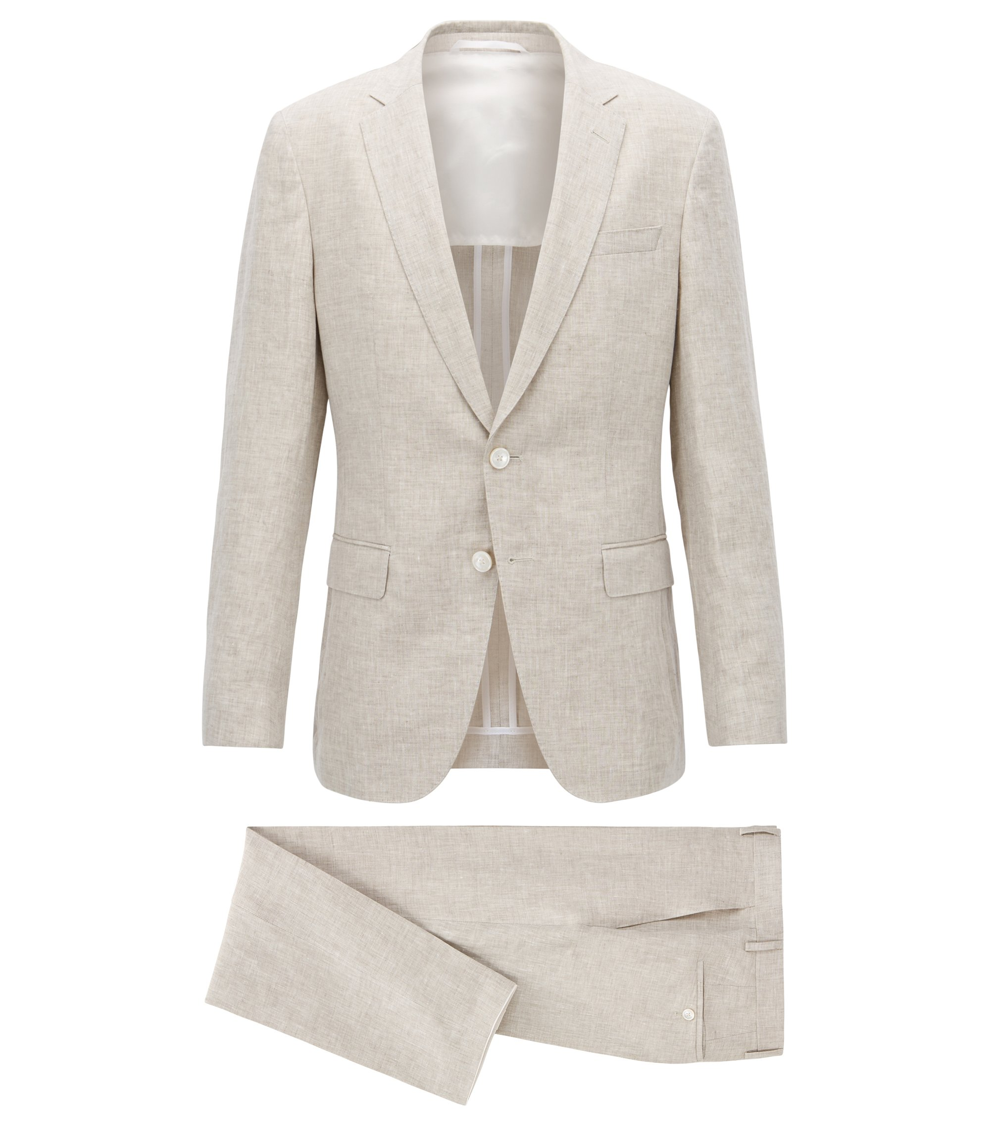 Slim-fit suit in yarn-dyed mélange linen, Natural