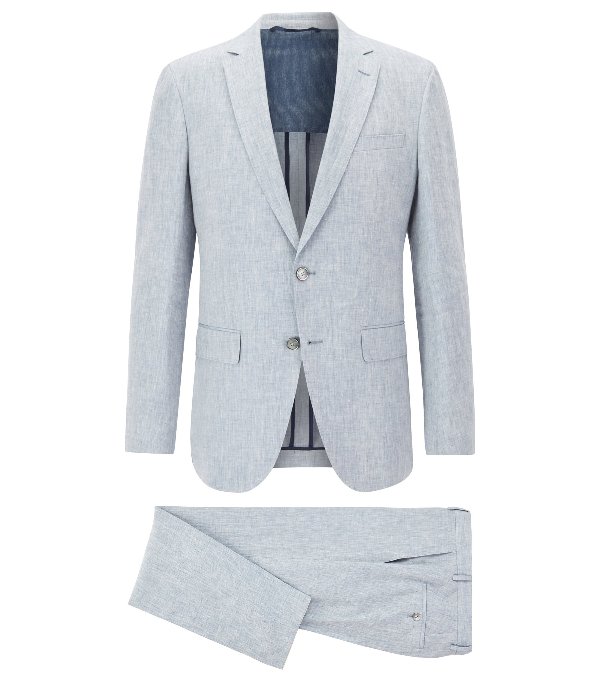 Slim-fit suit in yarn-dyed mélange linen, Light Blue