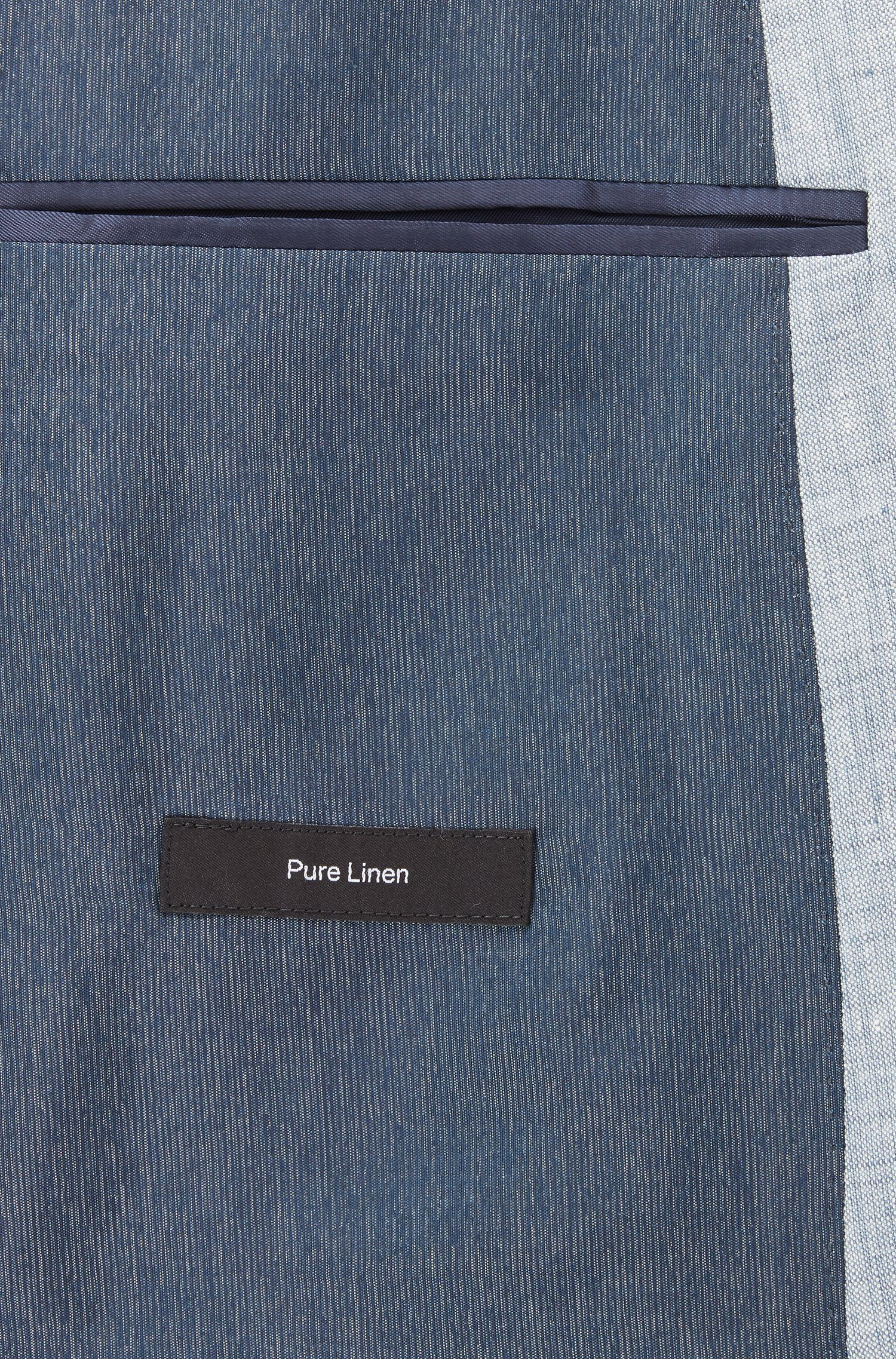 Slim-fit suit in yarn-dyed mélange linen