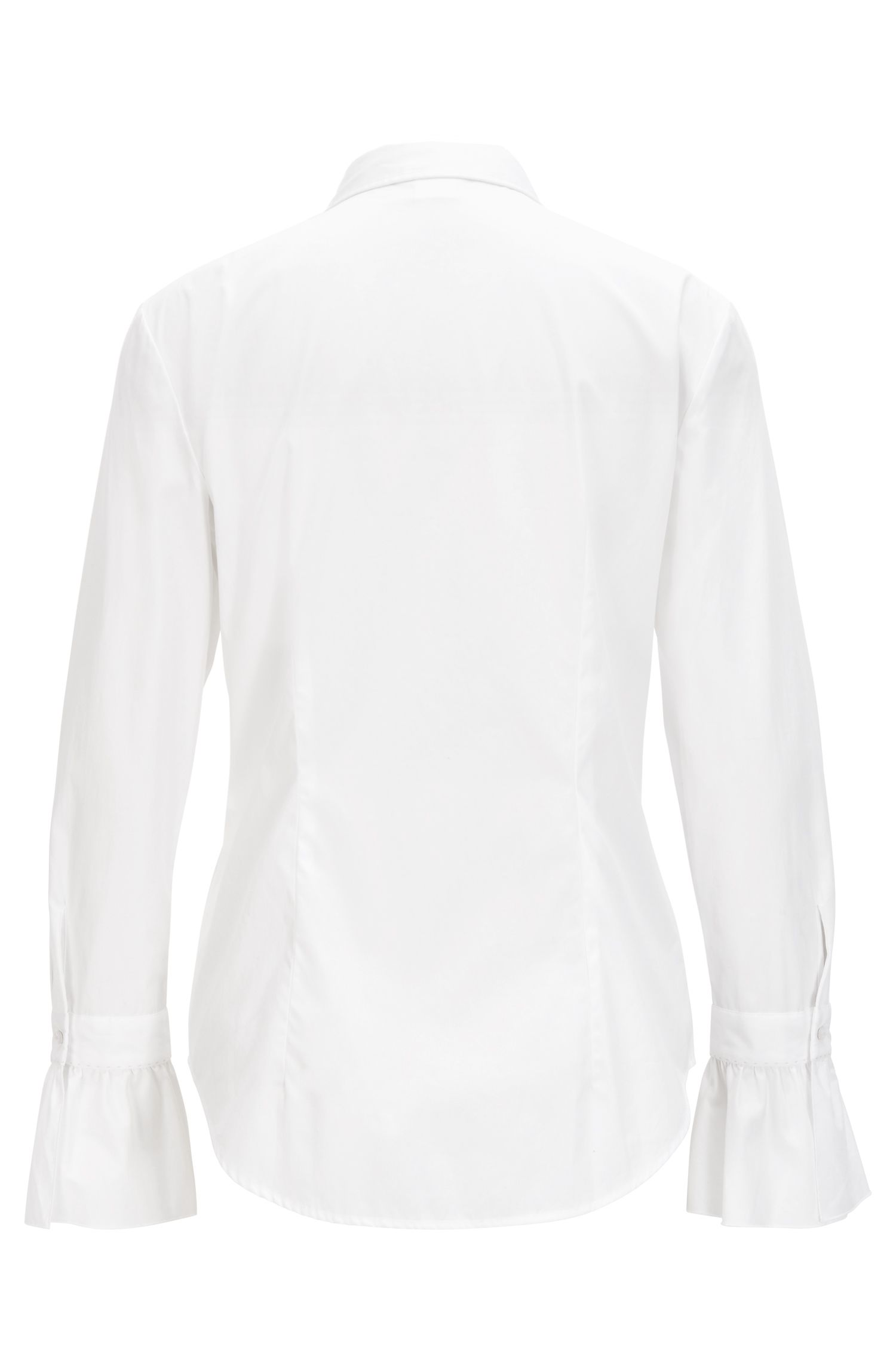 Slim-fit cotton-poplin blouse with ruffle cuff